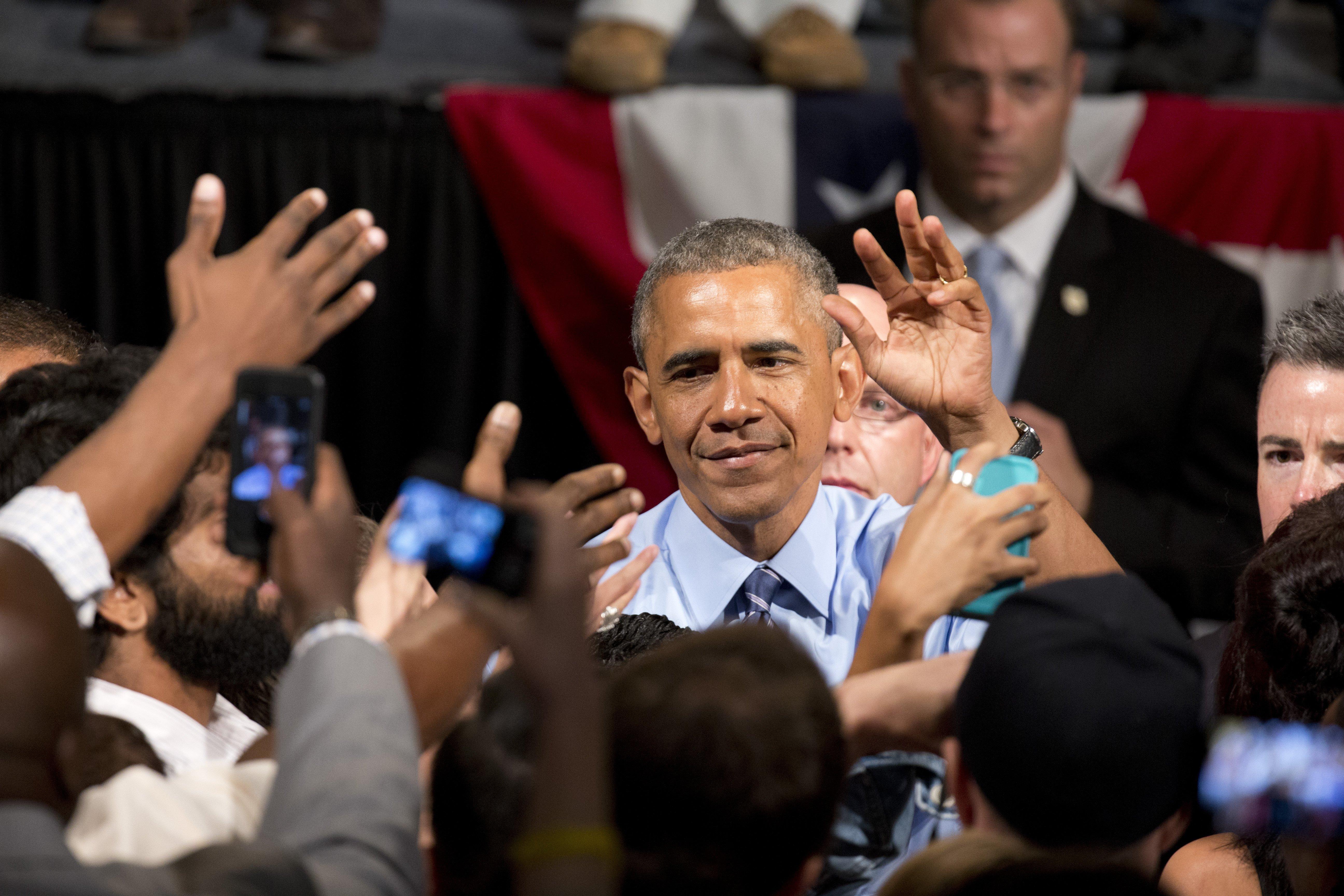 U.S. President Barack Obama  the legendary Paramount Theater in Austin on July 10, 2014.