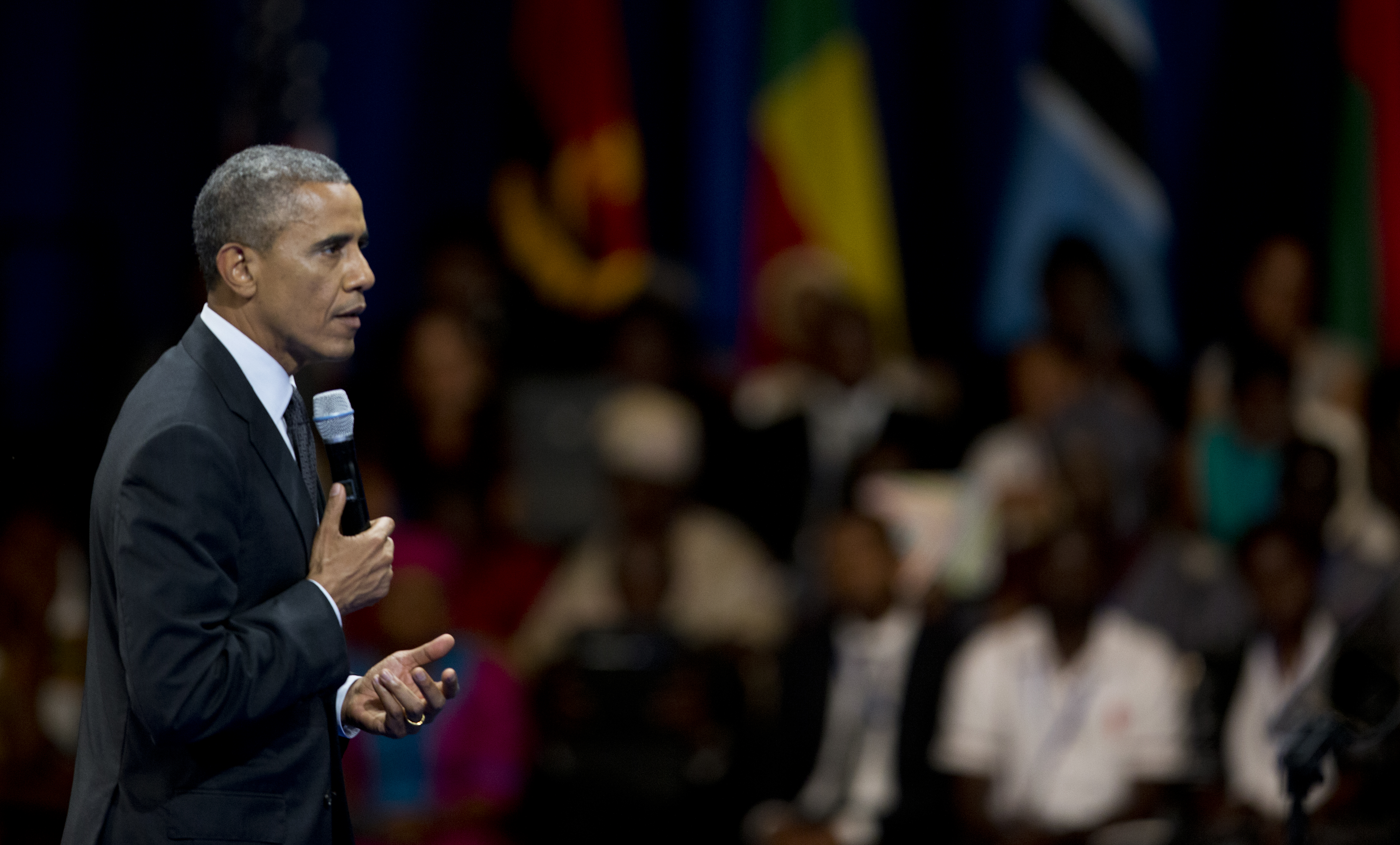 President Barack Obama speaks to participants of the Presidential Summit for the Washington Fellowship for Young African Leaders in Washington on July 28, 2014.