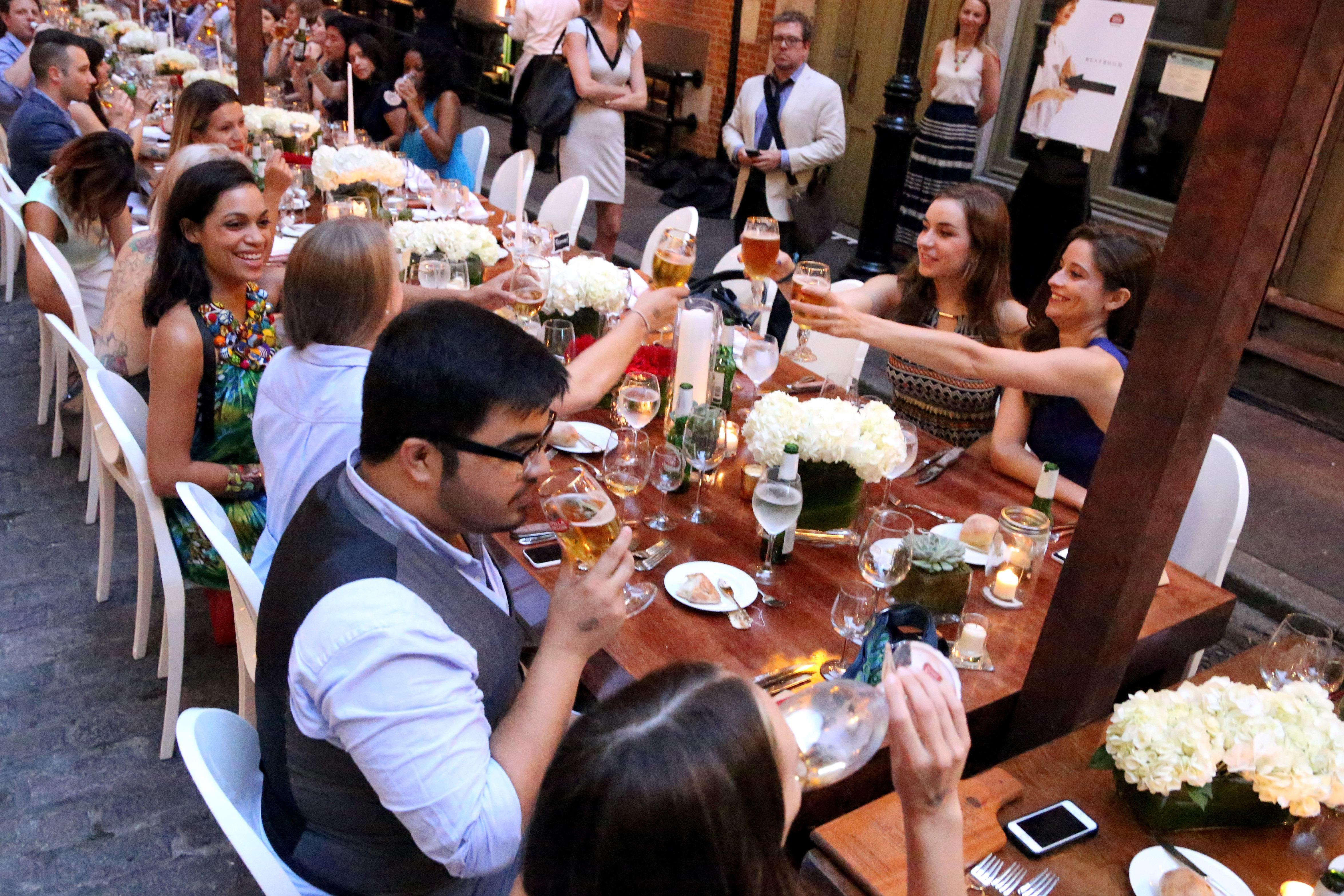 Beer drinkers at Financier Patisserie in New York City on July 21, 2014.