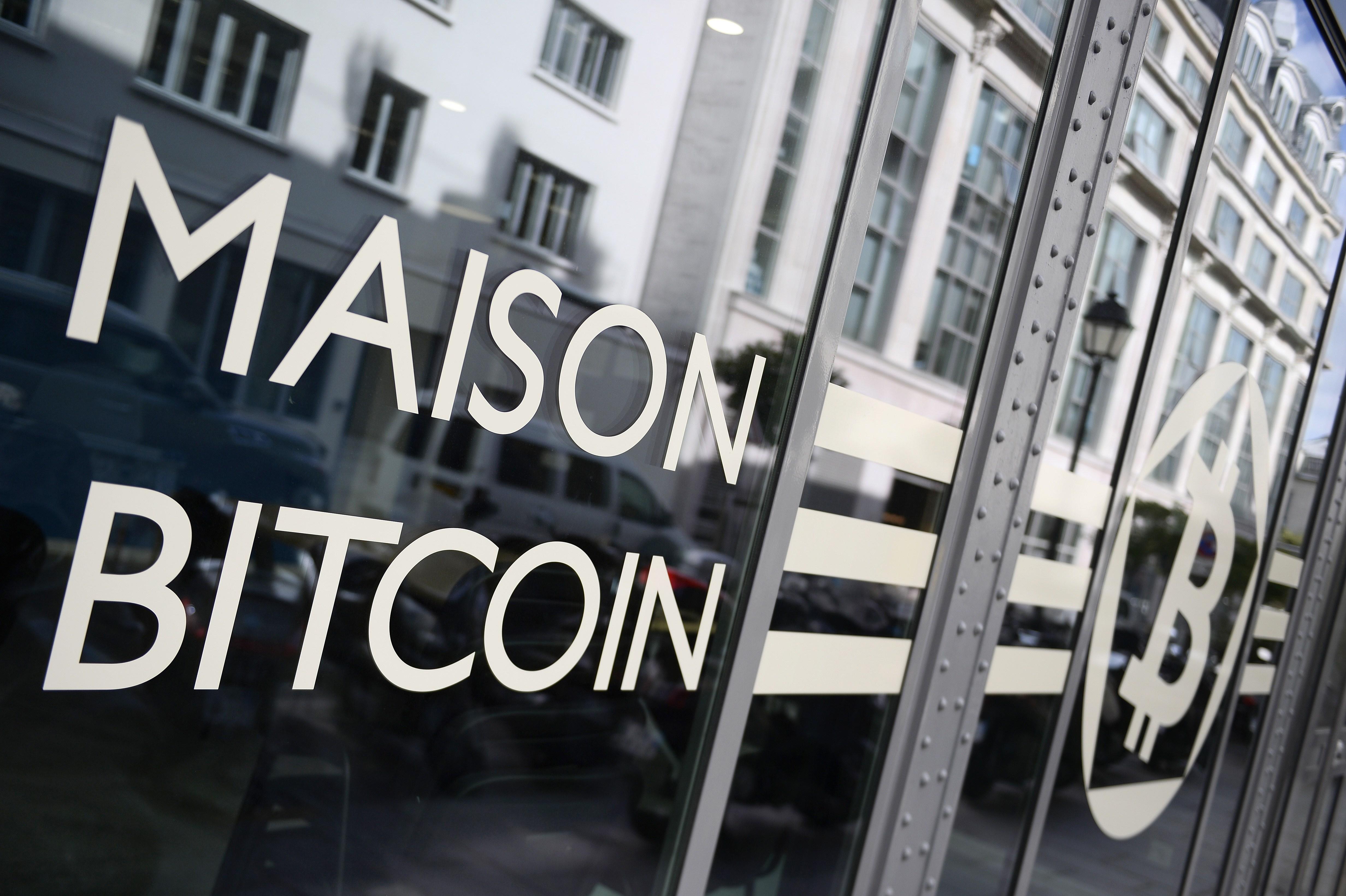 This picture taken on June 20, 2014, shows an entrance of La Maison du Bitcoin in Paris.