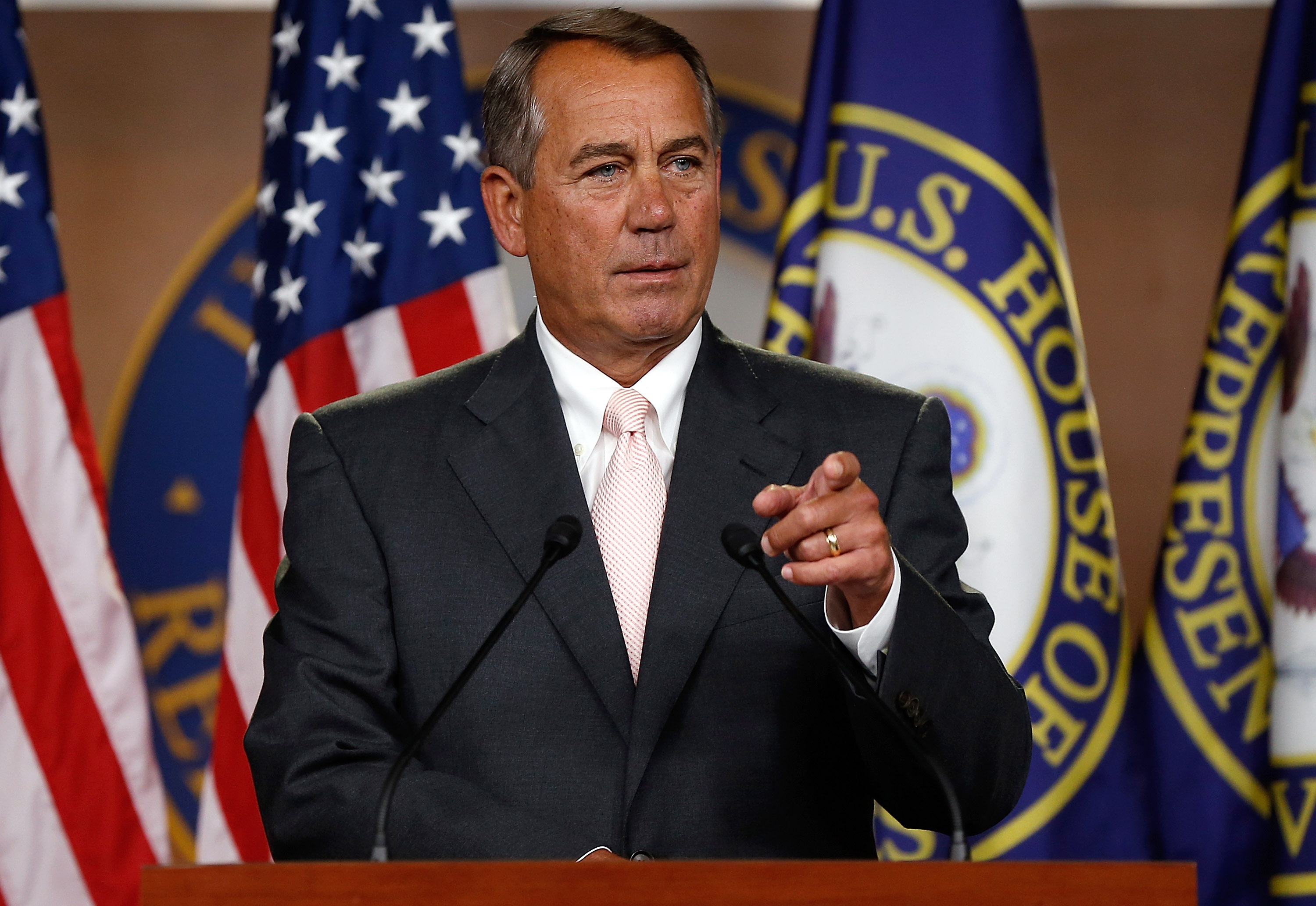 U.S. Speaker of the House John Boehner (R-OH) answers questions during his weekly press conference at the U.S. Capitol July 10, 2014 in Washington, DC.