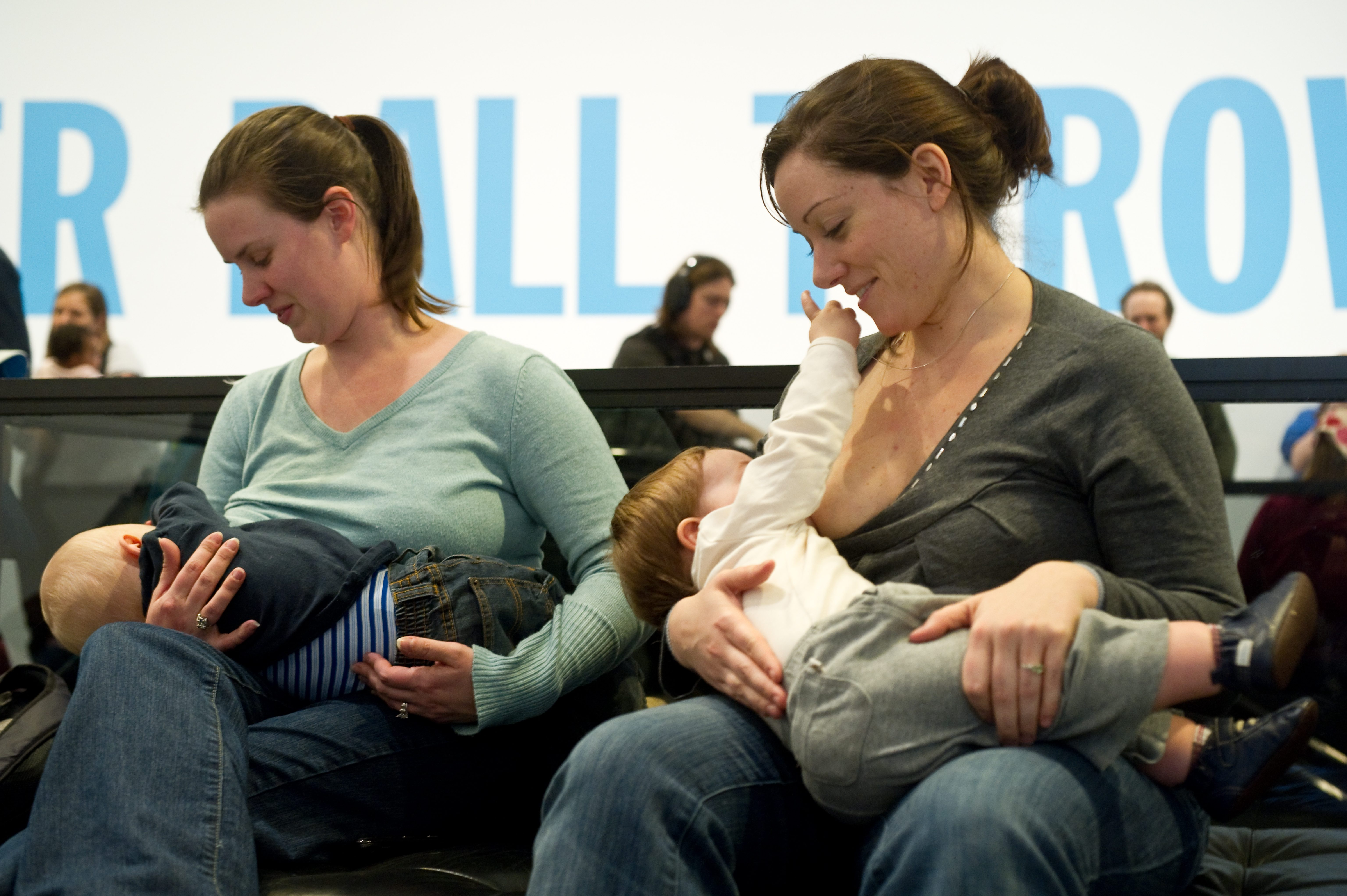 Women breastfeed their babies at the Hir