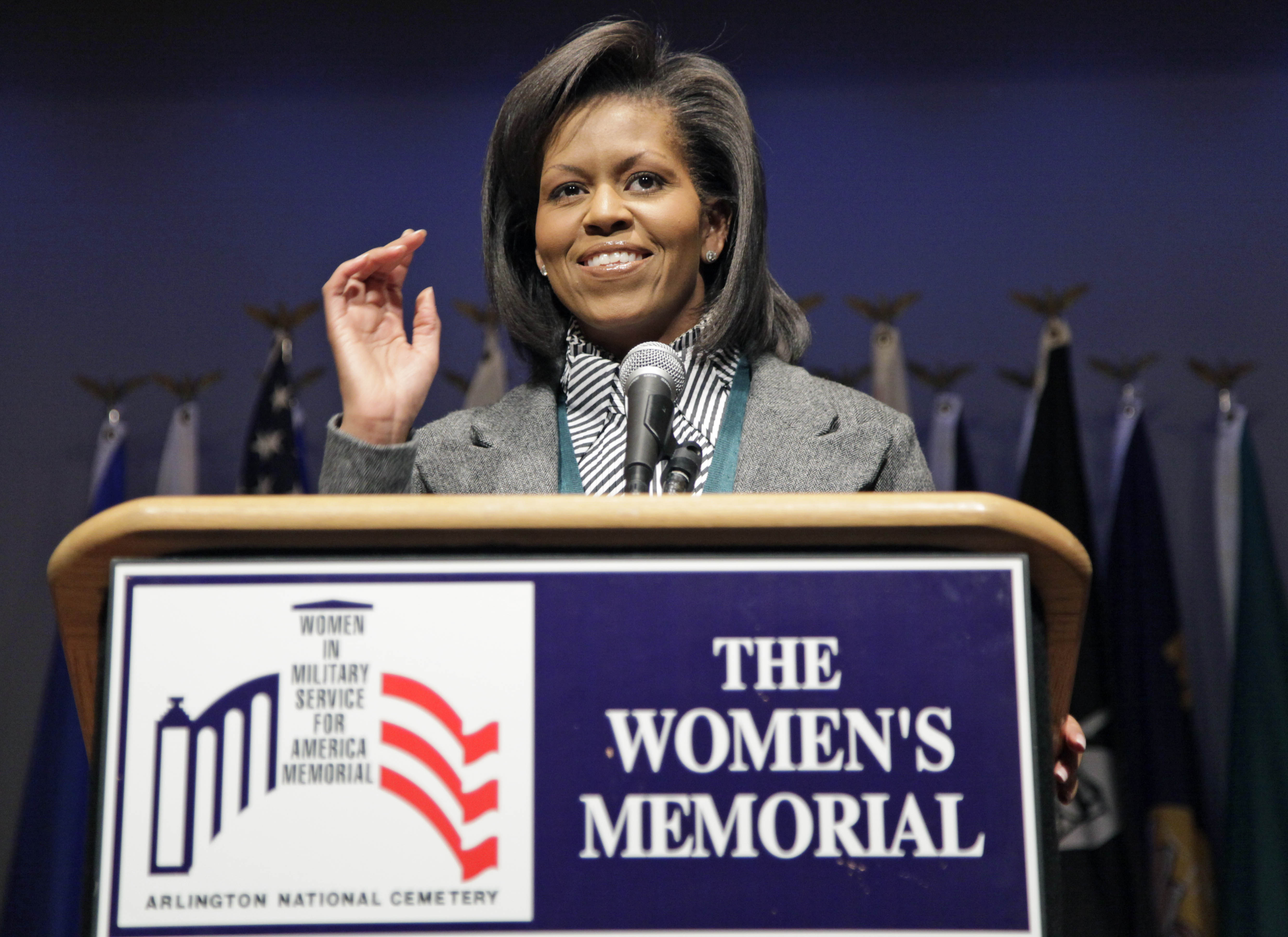 First Lady Michelle Obama speaks at Arlington National Cemetery's Women in Military Service for America Memorial Center, Tuesday, March 3, 2009, in Arlington, Virginia.