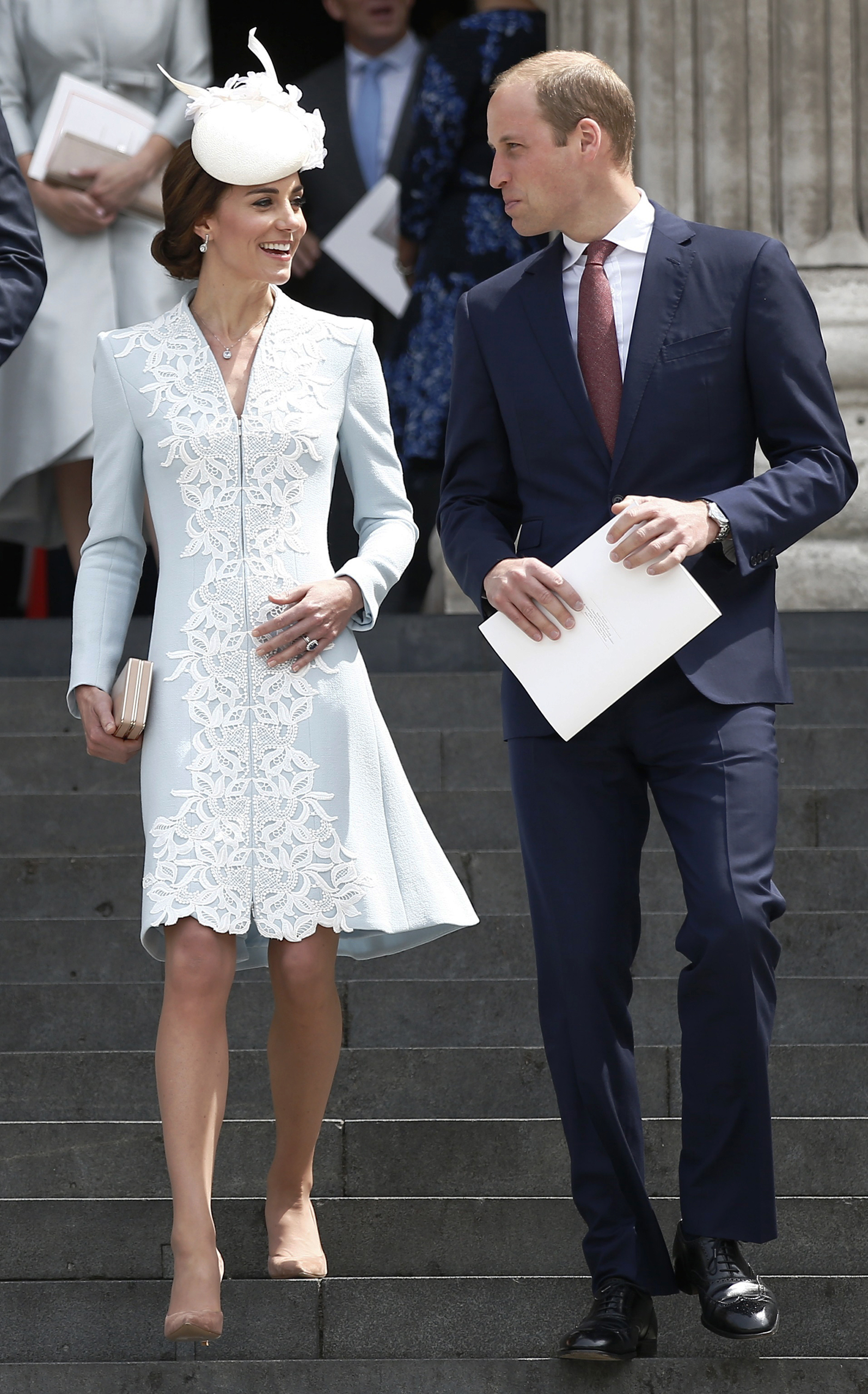 Britain's Prince William and Catherine, Duchess of Cambridge, leave after a service of thanksgiving for Queen Elizabeth's 90th birthday at St. Paul's Cathedral in London, June 10, 2016.