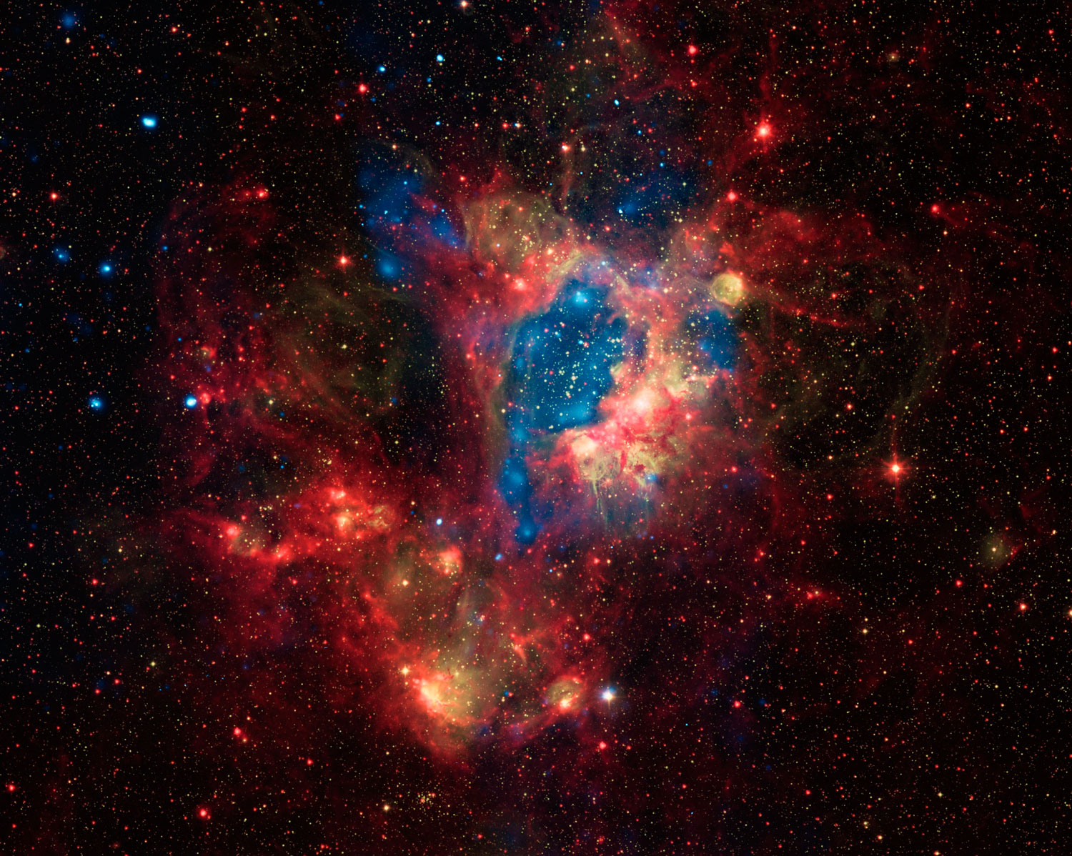 This composite image shows a portion of the Large Magellanic Cloud (LMC), a small satellite galaxy of the Milky Way located about 160,000 light years from Earth.