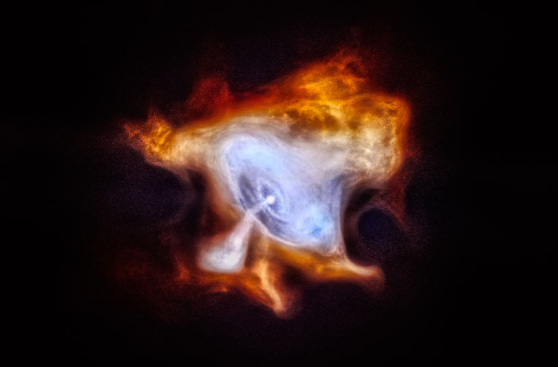 Crab Nebula, an extremely dense, rapidly rotating neutron star left behind by the explosion. The neutron star, also known as a pulsar, is spewing out a blizzard of high-energy particles, producing the expanding X-ray nebula seen by Chandra.