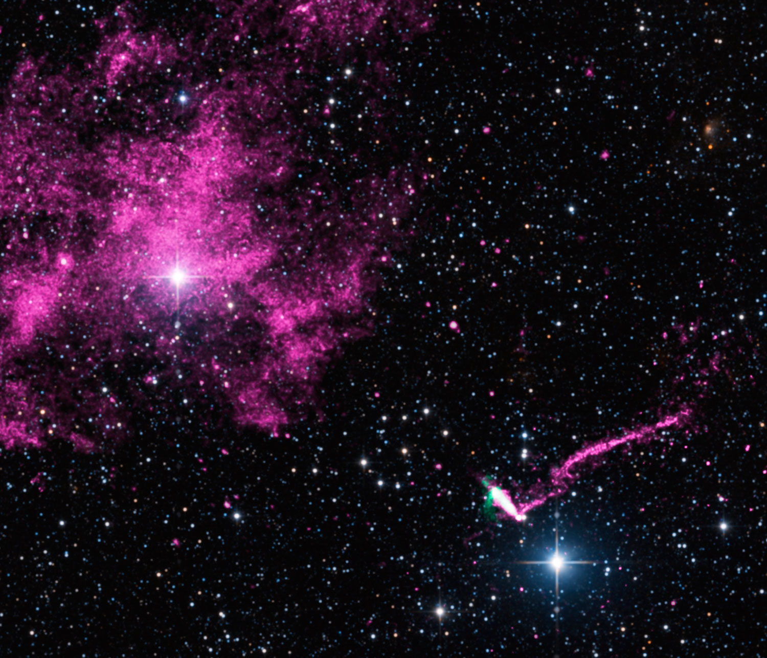 An extraordinary jet trails behind a runaway pulsar in a composite image from NASA's Chandra X-ray Observatory (purple) and the Australia Compact Telescope Array (green). The pulsar and its tail, in the lower right of this image, stretches for 37 light years, making it the longest jet ever seen from the Milky Way galaxy.