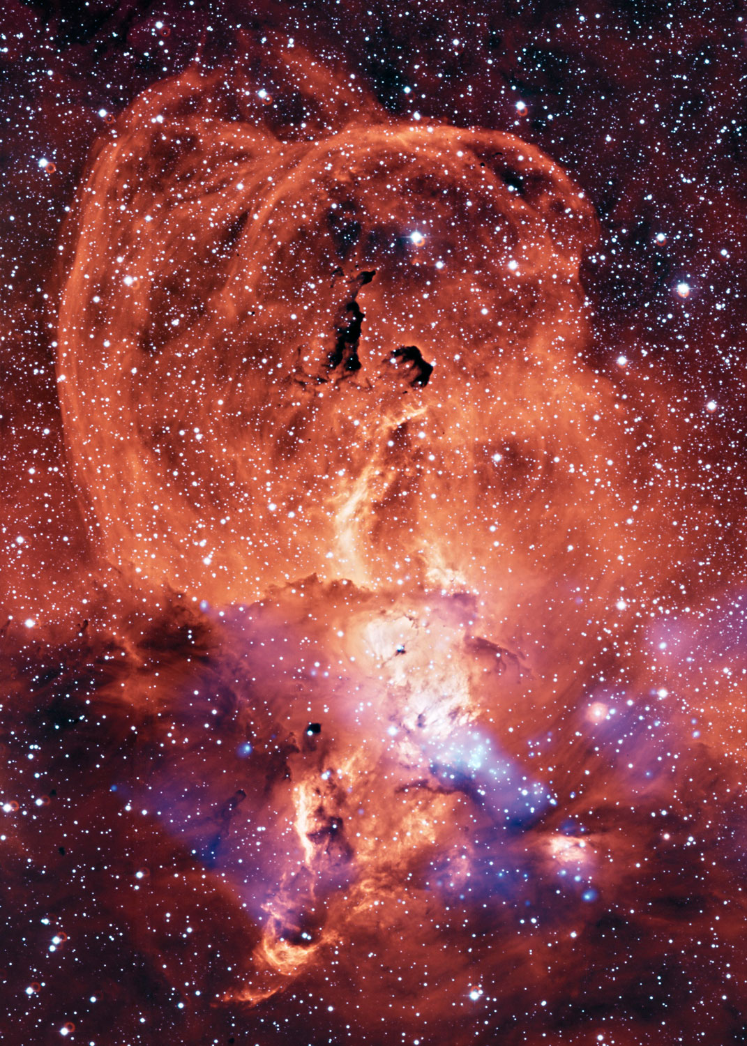 NGC 3576. a region of glowing gas in the Sagittarius arm of the Milky Way galaxy,  is located about 9,000 light years from Earth. Such nebulas present a tableau of the drama stellar evolution, from the formation in vast dark clouds, their relatively brief (a few million years) lives, and the eventual destruction in supernova explosions.