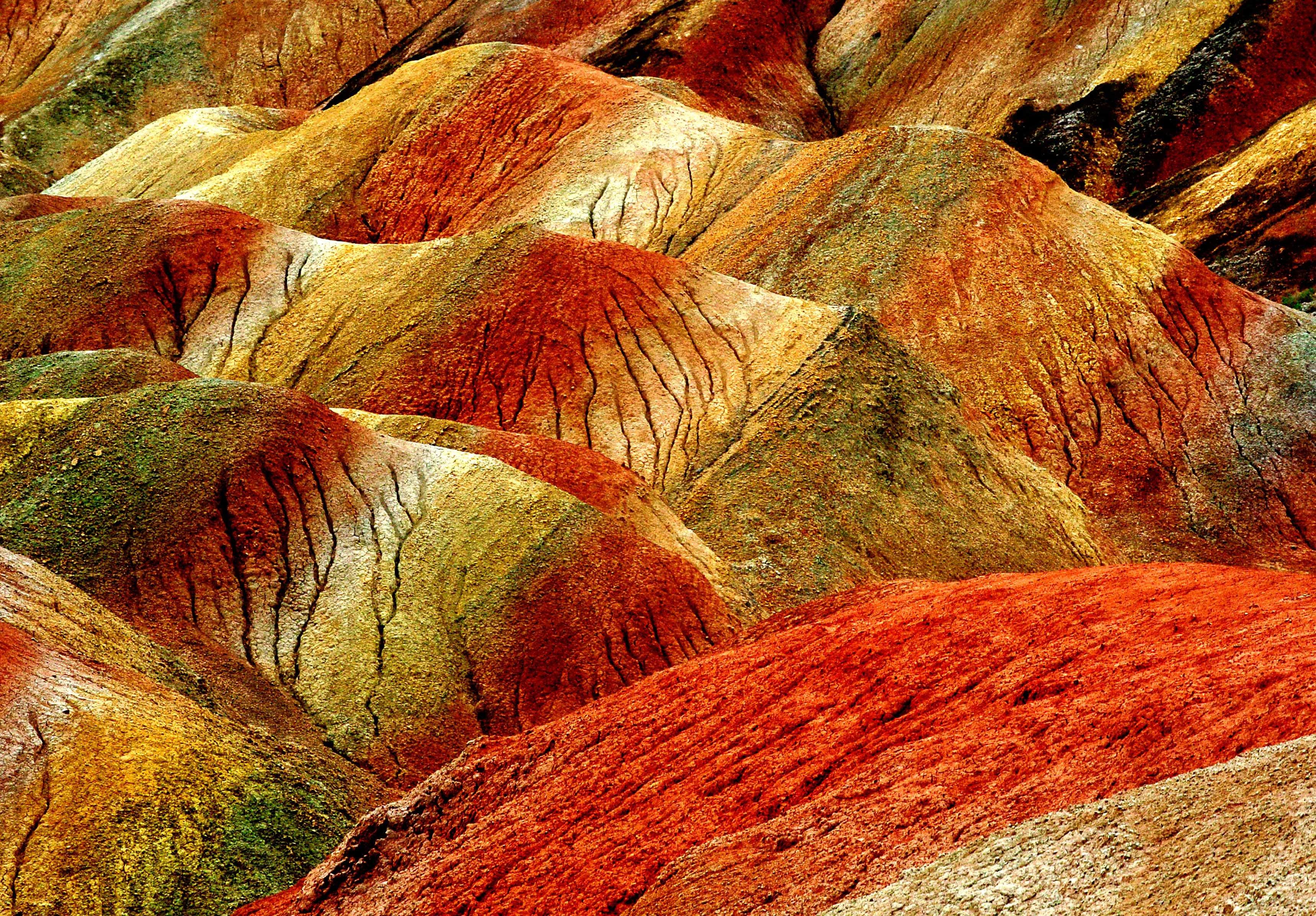 The scenery at Zhangye Danxia Landform Geological Park in Zhangye City, Gansu Province, northwest China, July 7, 2014.