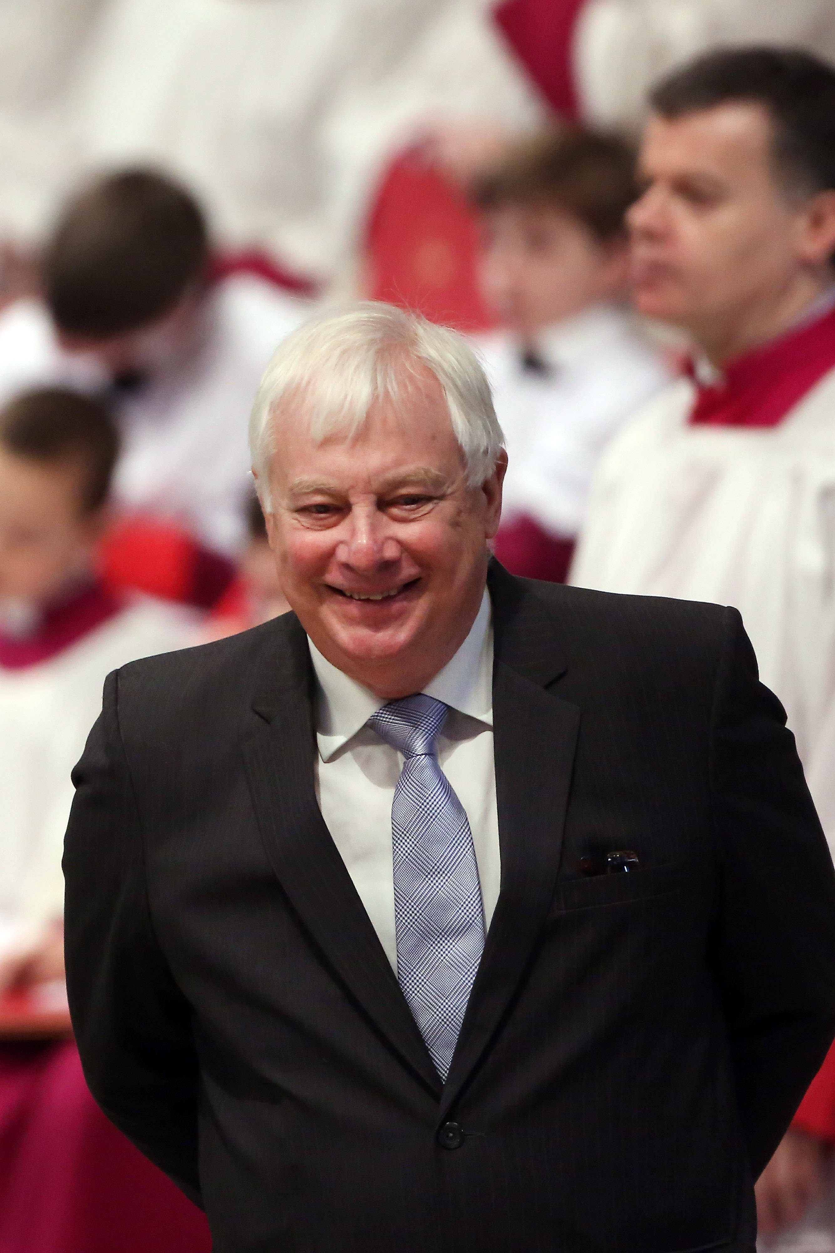 Lord Chris Patten attends a mass with newly appointed cardinals held by Pope Francis at St Peter's Basilica on February 23, 2014 in Vatican City, Vatican.