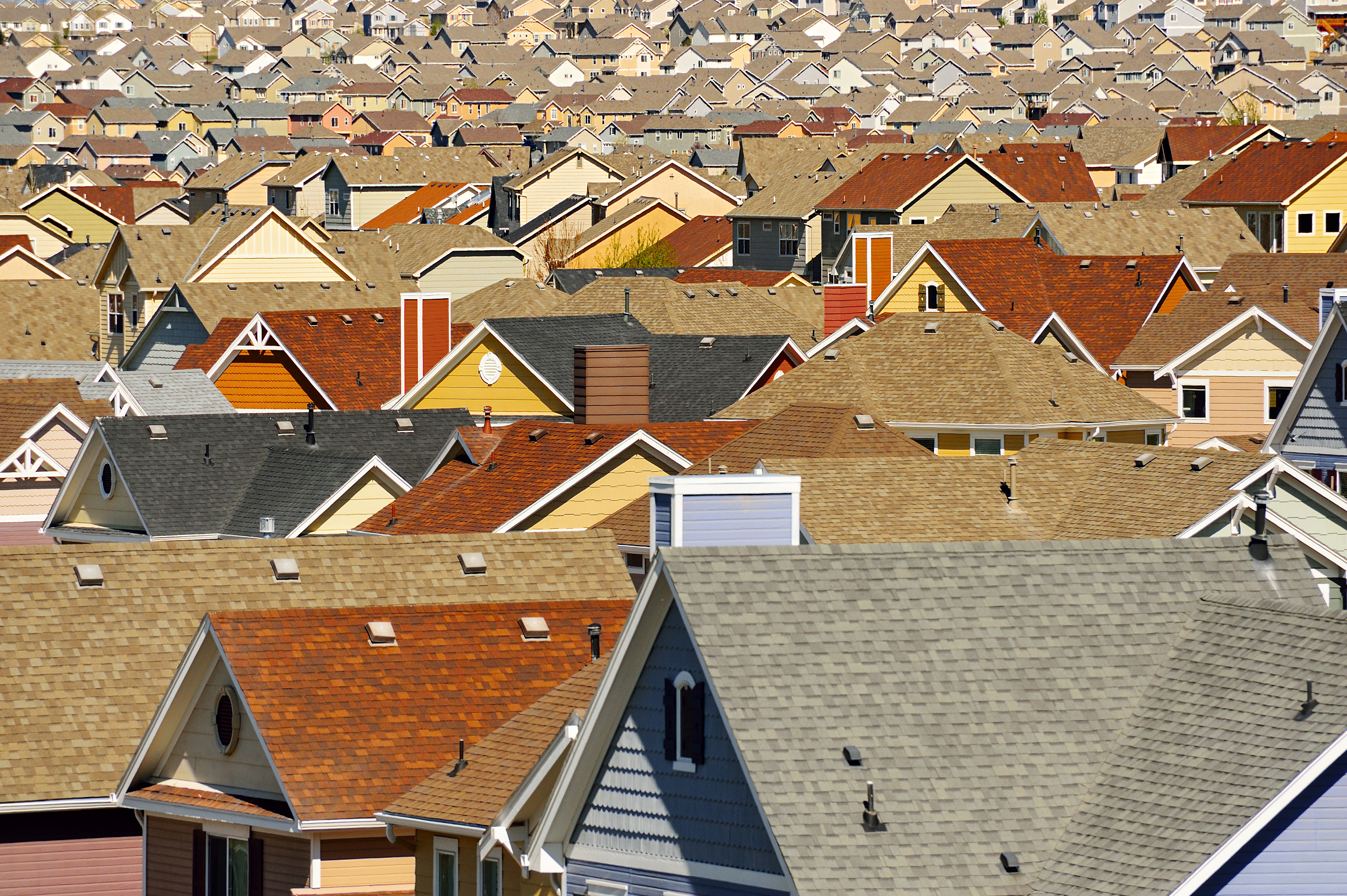 Rooftops in suburban development  in Colorado Springs, Colorado.