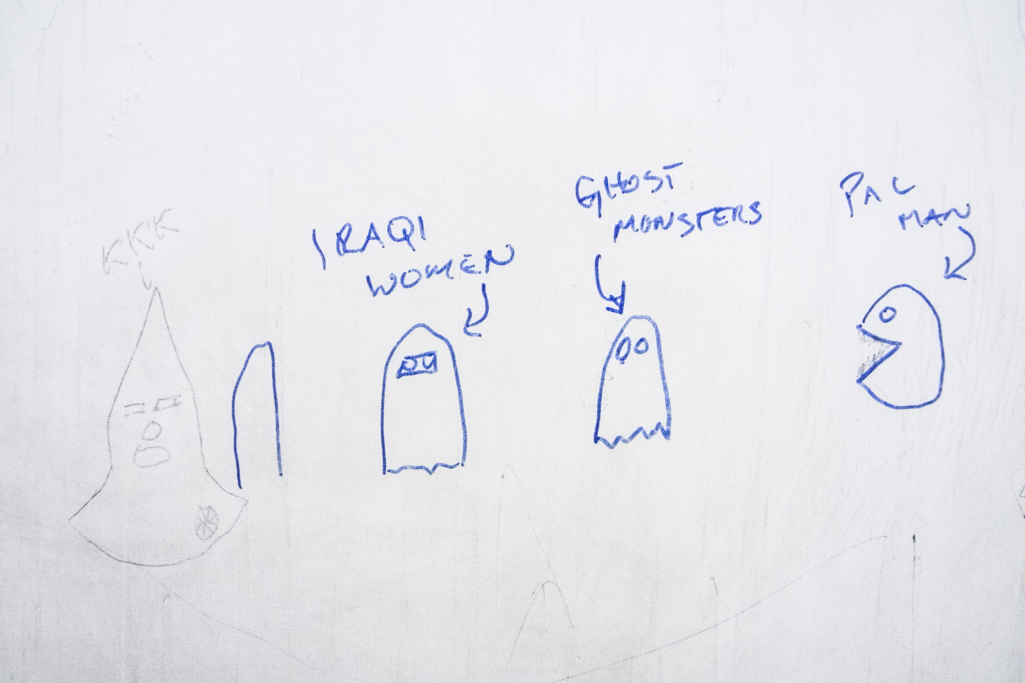 Graffiti written by soldiers on the walls of bathroom stalls. Kuwait, Ali Al Salem. 2006