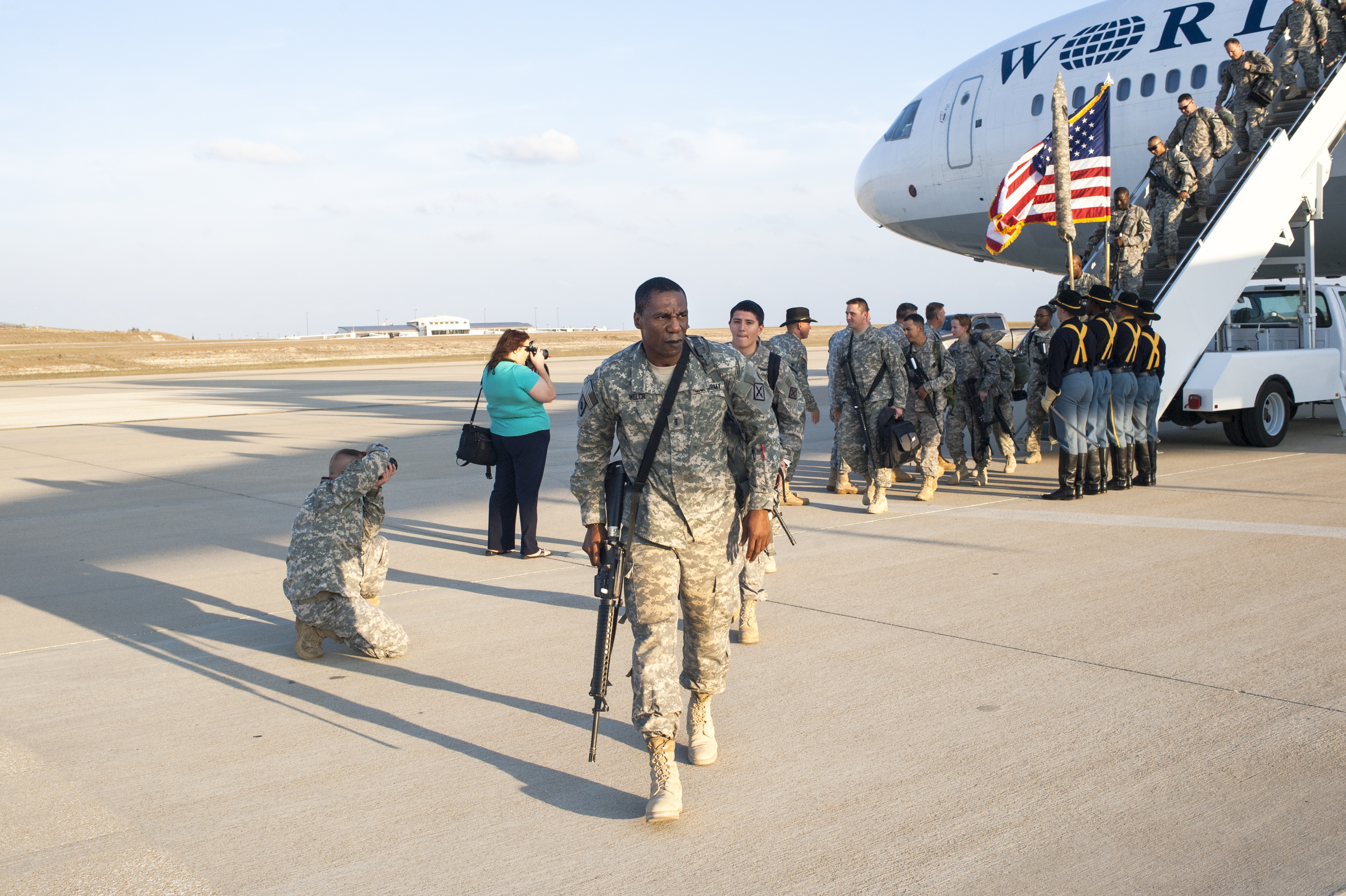 Soldiers from the 1st Cavalry Division arrive home from Iraq.                               Fort Hood, Texas. 2011