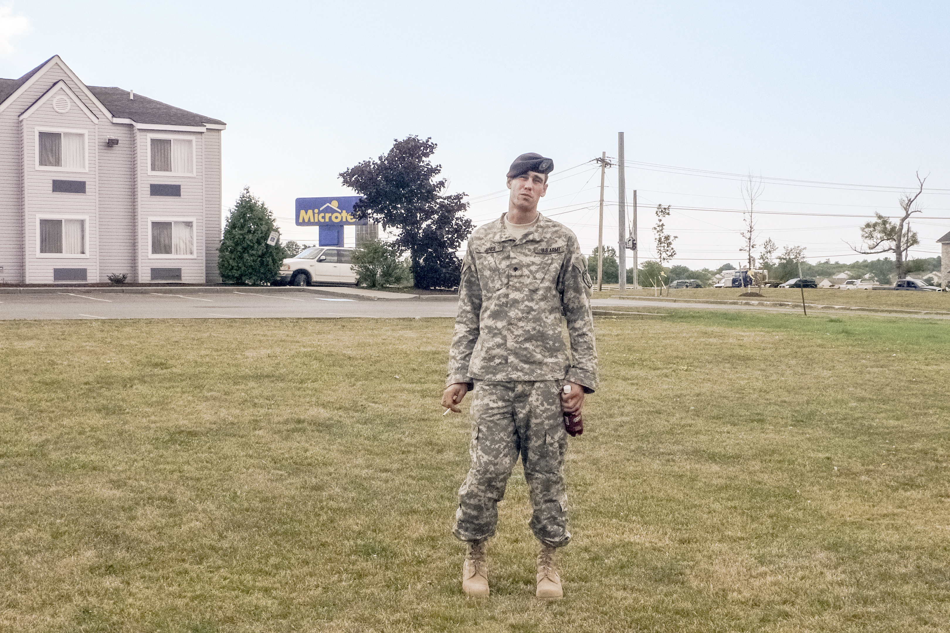Specialist Scott Jones at Fort Drum in upstate New York, a month after returning from                               Afghanistan.                               Watertown, New York. USA. 2007