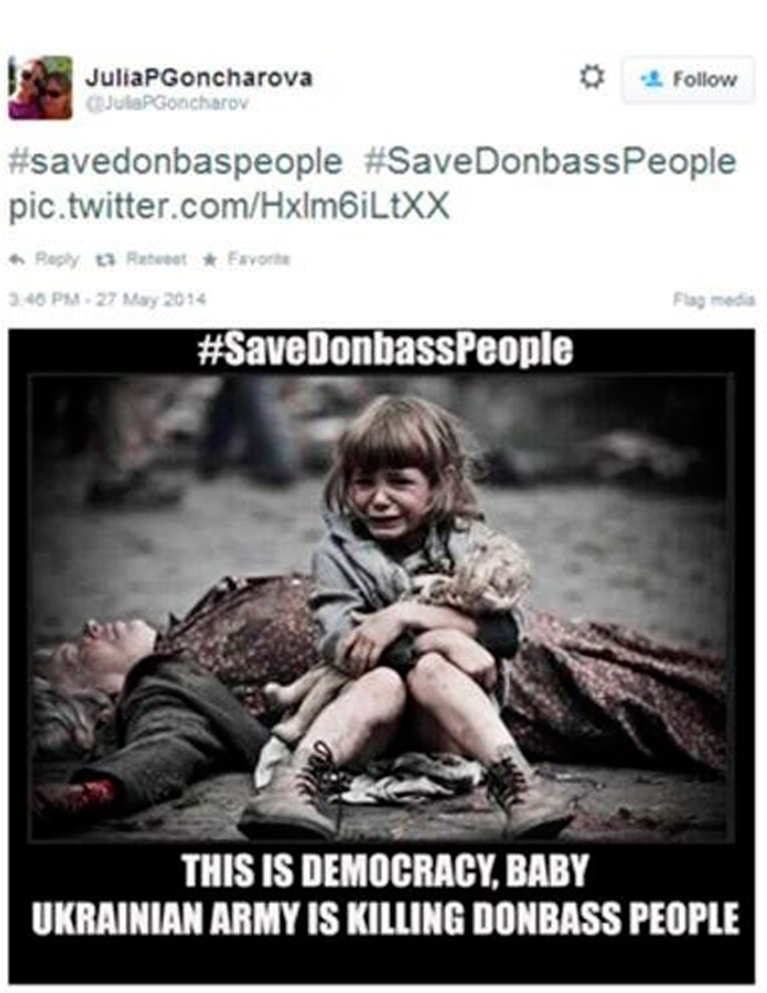 This photo posted across social media is of a girl who is apparently a victim of military action in Donbass, Ukraine.