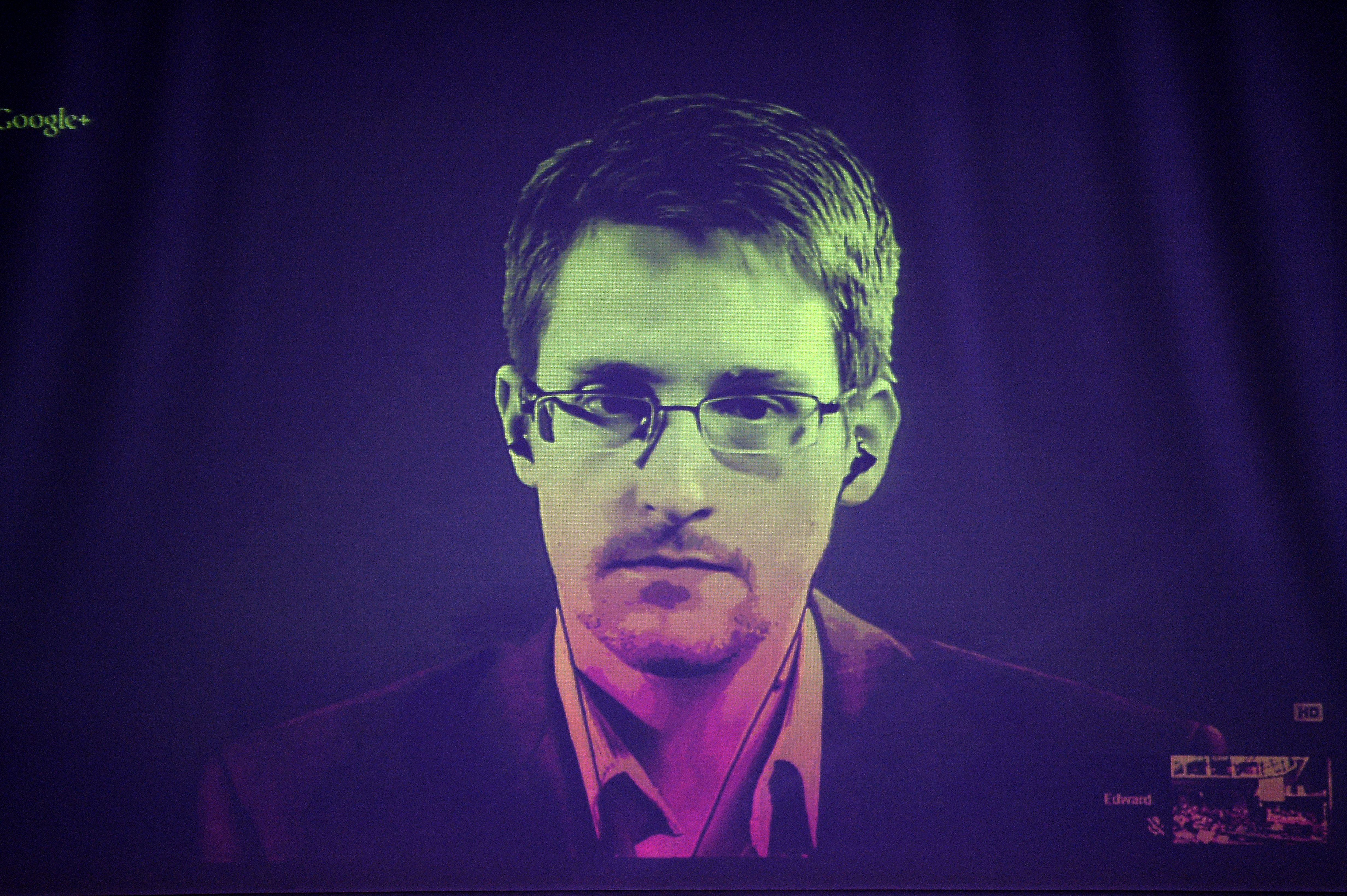 US National Security Agency (NSA) whistleblower Edward Snowden speaks to European officials via videoconference during a parliamentary hearing on improving the protection of whistleblowers, at the Council of Europe in Strasbourg, eastern France, on June 24, 2014.