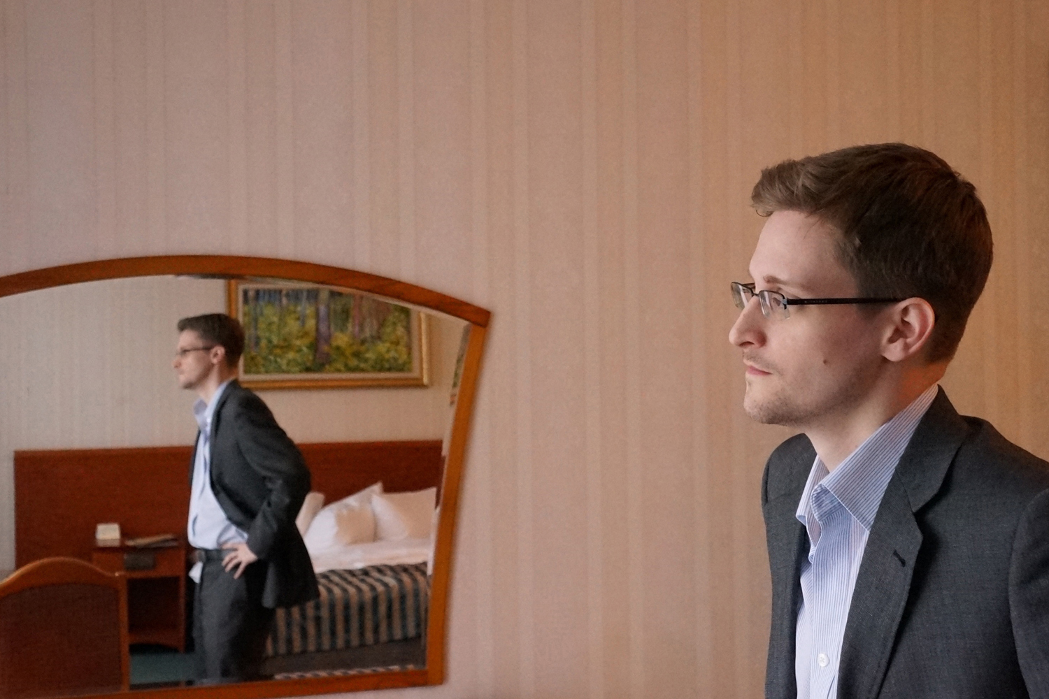 Former intelligence contractor Edward Snowden in an undisclosed location in Moscow, December 2013.