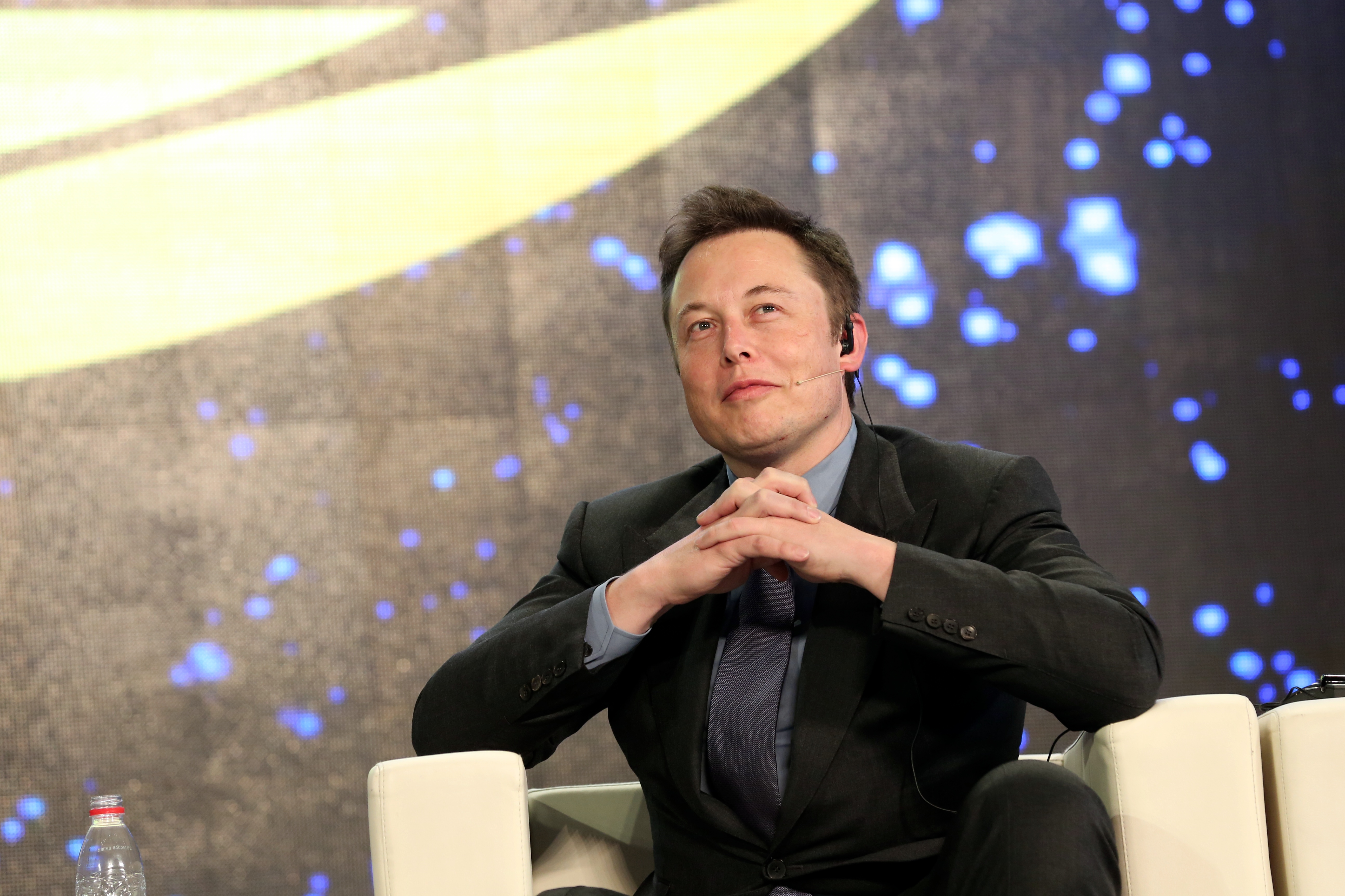 CEO of Tesla Motors Elon Musk attends the television show  Dialogue  taping at Zhongshan Park in Beijing on April 21, 2014.