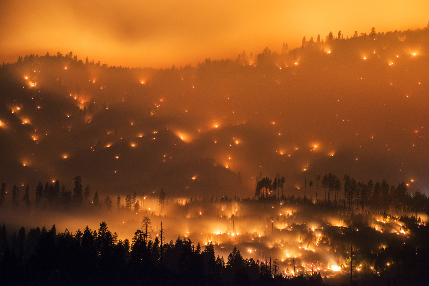 Jul. 27, 2014. The El Portal Fire burns on a hillside  in the Stanislaus National Forest and Yosemite National Park on Sunday evening. The community of El Portal was under a mandatory evacuation. By Tuesday the blaze had burned nearly 3,000 acres.