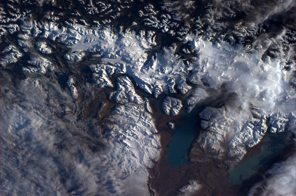 Glacial flows near the Straits of Magellan seen from the International Space Station.