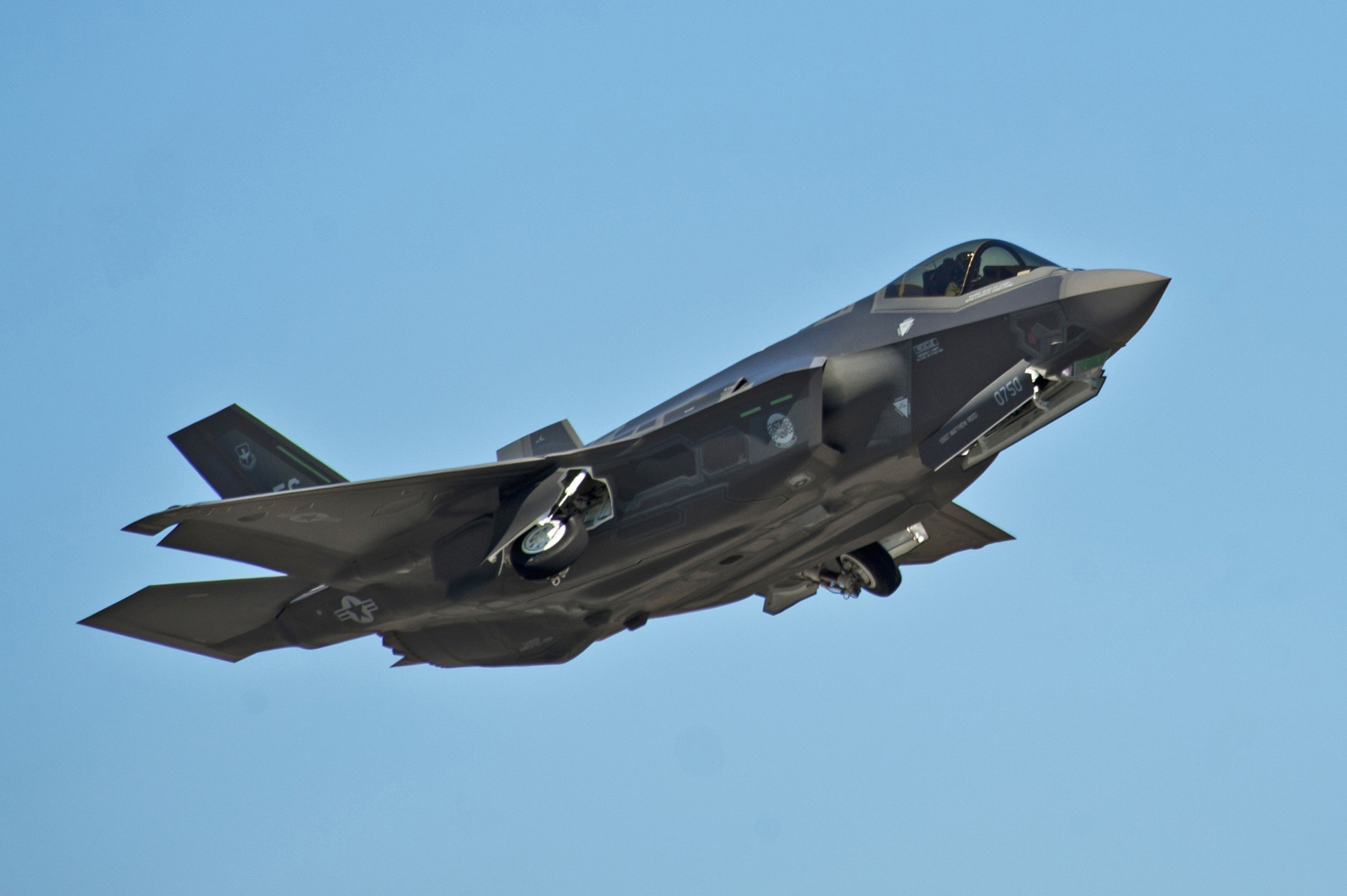 An F-35A Lightning II Joint Strike Fighter takes off on a training sortie at Eglin Air Force Base, Florida in 2012.