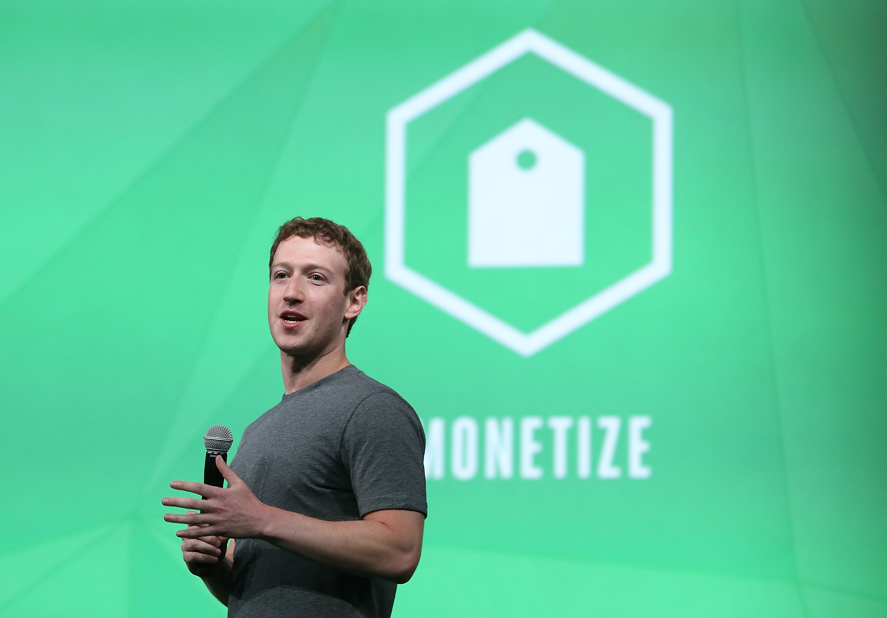Facebook CEO Mark Zuckerberg delivers the opening kenote at the Facebook f8 conference on April 30, 2014 in San Francisco, California.