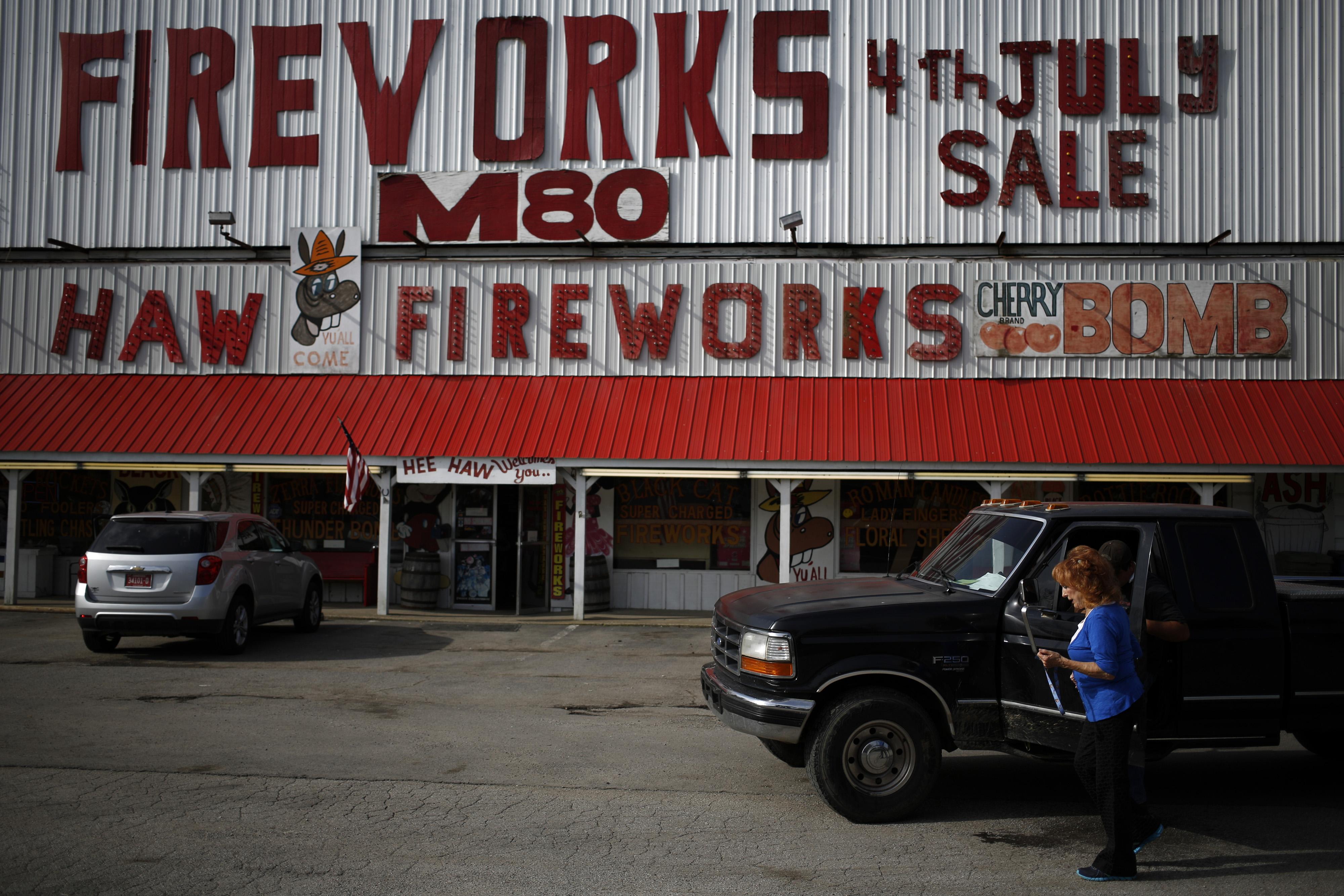 Owner Glenda Tinnin stands in front of Hee Haw Fireworks in Goodlettsville, Tenn. on July 1, 2014.