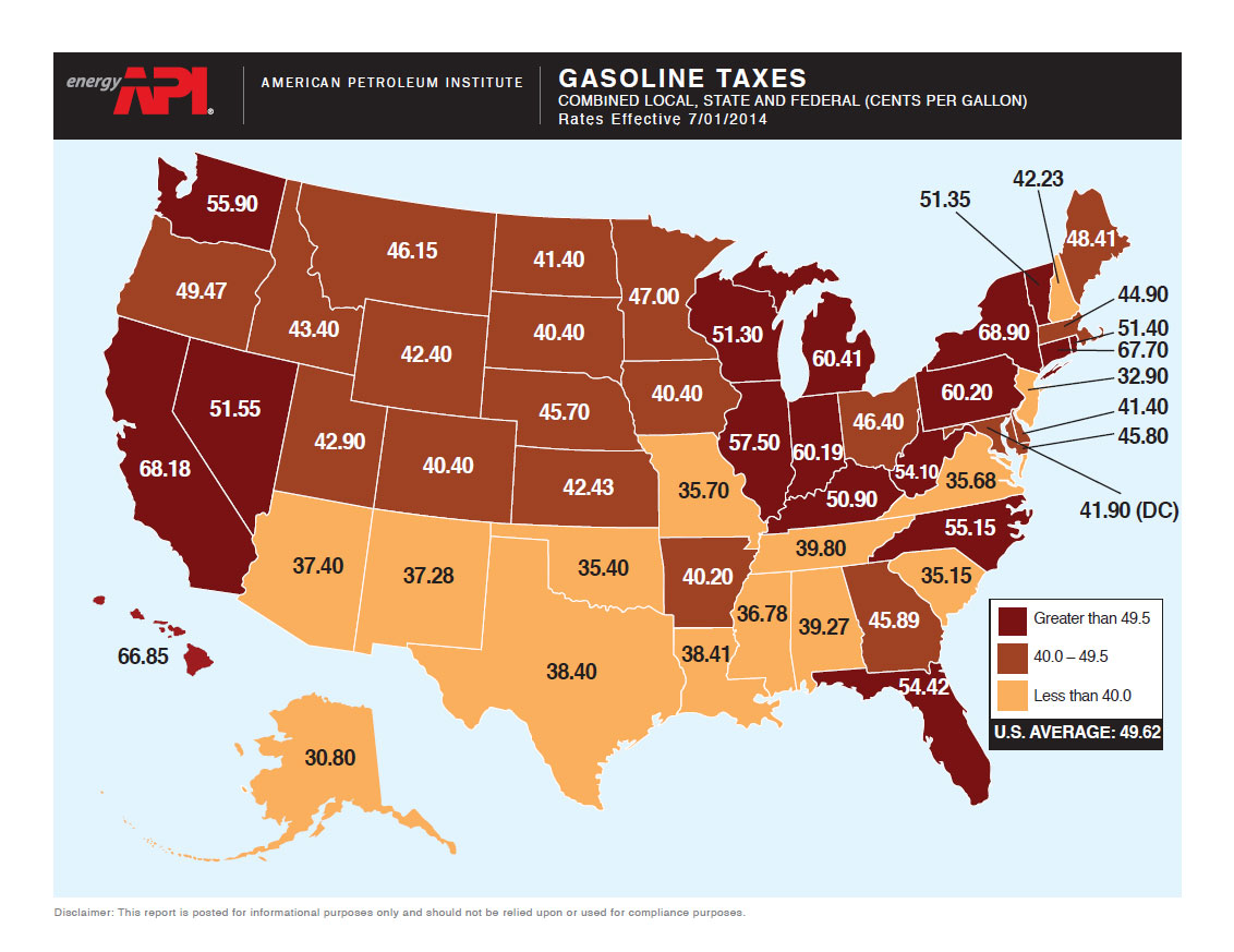 A map of gasoline tax in the US.
