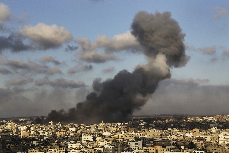 Smoke from an Israeli strike rises over Gaza City on July 24, 2014.