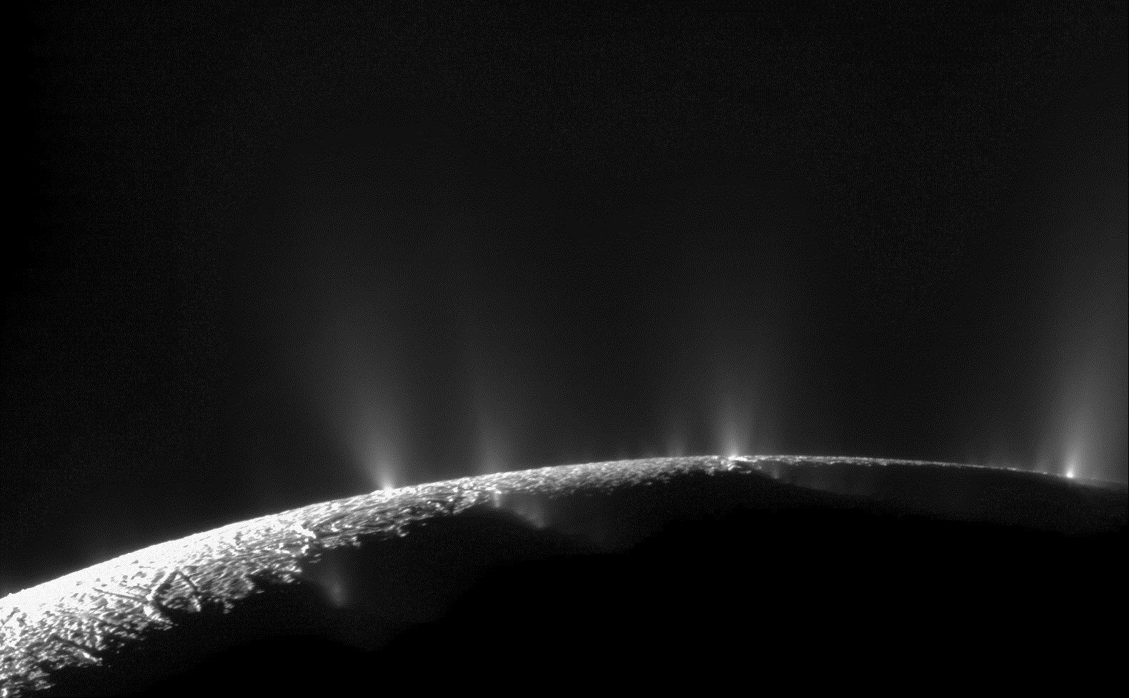 Dramatic plumes, both large and small, spray water ice and vapor from many locations along the famed  tiger stripes  near the south pole of Saturn's moon Enceladus.
