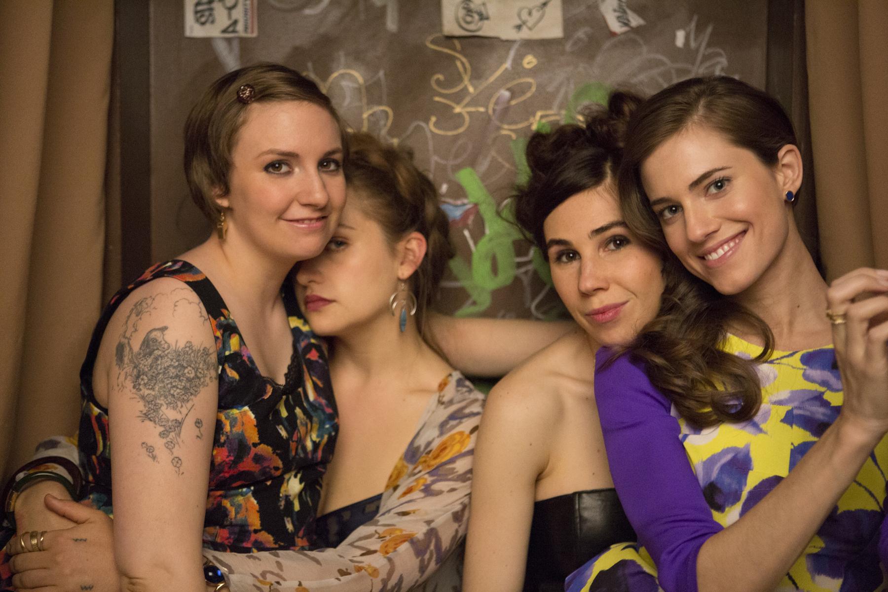 (L-R) Lena Dunham, Jemima Kirke, Zosia Mamet and Allison Williams in  Girls.