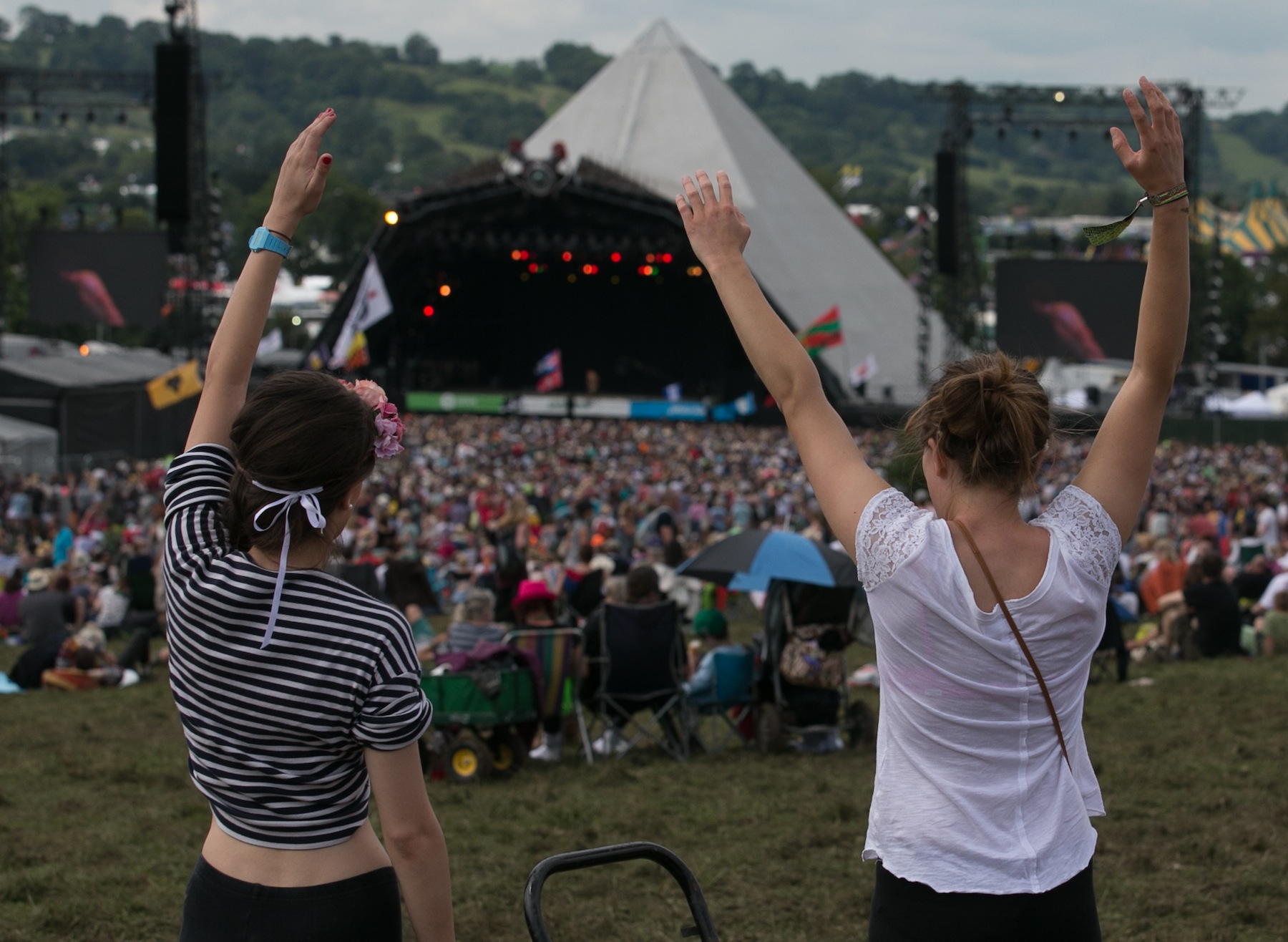 Festival goers at the 2014 Glastonbury Festival on June 29, 2014 in Glastonbury, England.