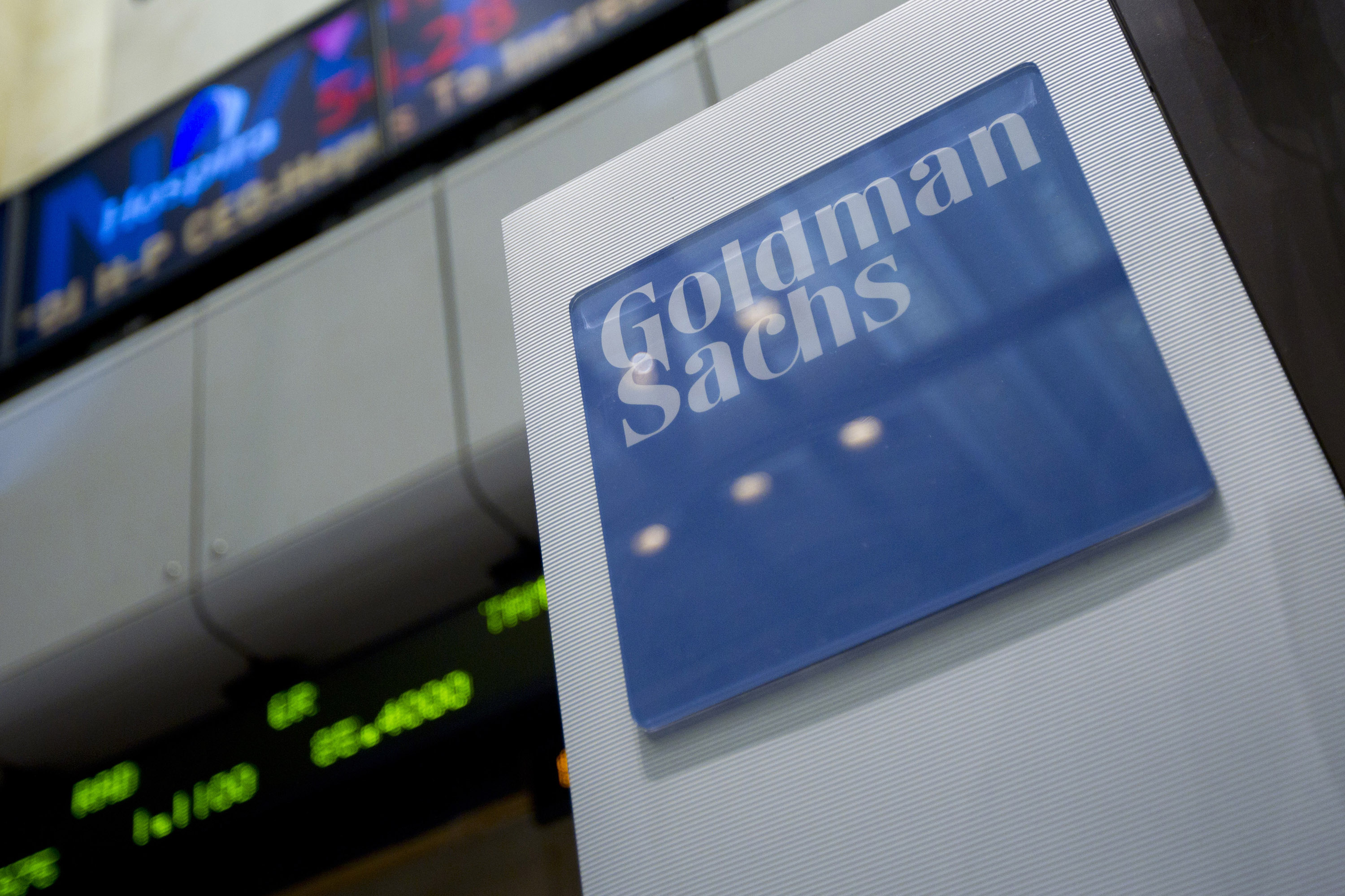 Goldman Sachs Group Inc. signage is displayed on the floor of the New York Stock Exchange in New York, U.S.