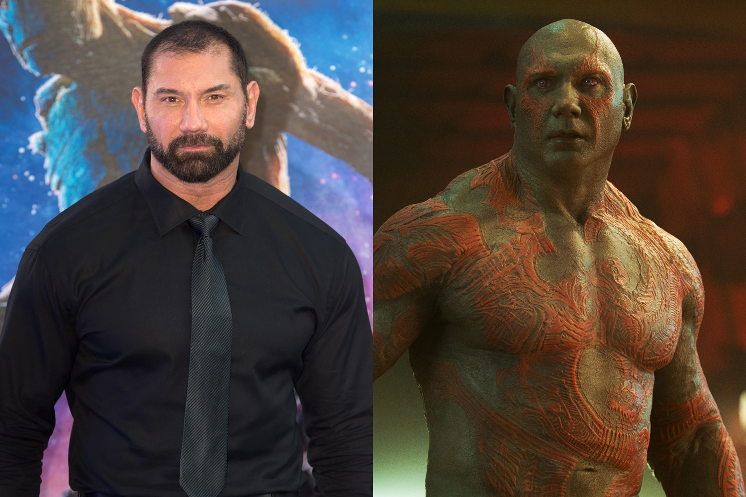 Former WWE heavyweight champ Dave Bautista plays Drax the Destroyer. His 18 prostheses took a team of five makeup artists four hours to apply.