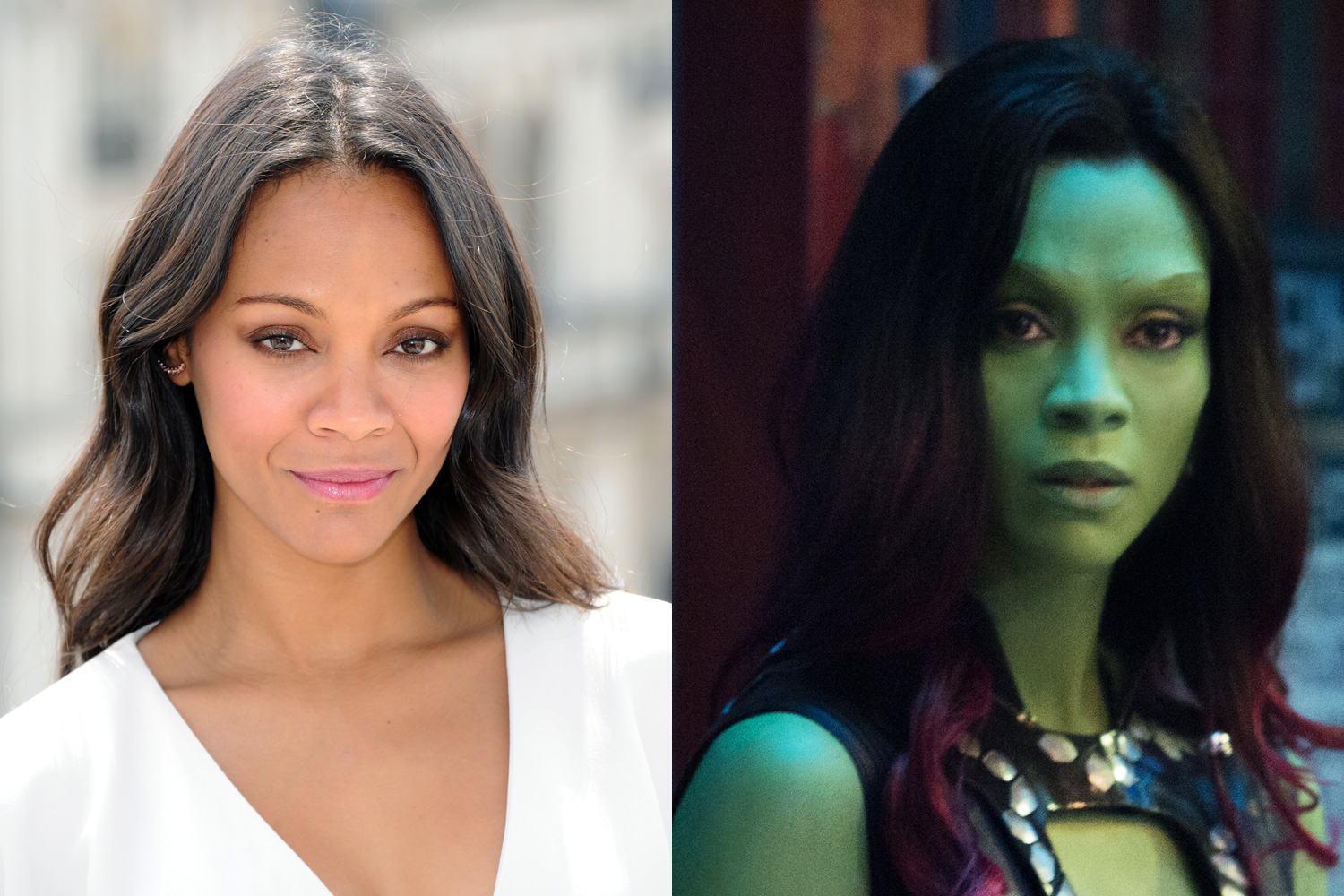 Zoe Saldana trades her Na'vi blue for Gamora green in Guardians of the Galaxy. The artists didn't want the green to put people off, and chose the shade to show vibrance and youthfulness. The makeup and prosthetics took five hours every morning.