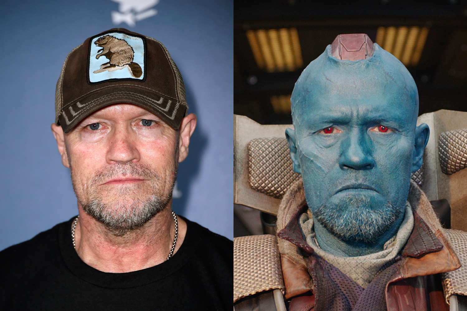 Michael Rooker plays the blue-skinned bandit Yondu, who has a  mohawk  that lights up from front to back.