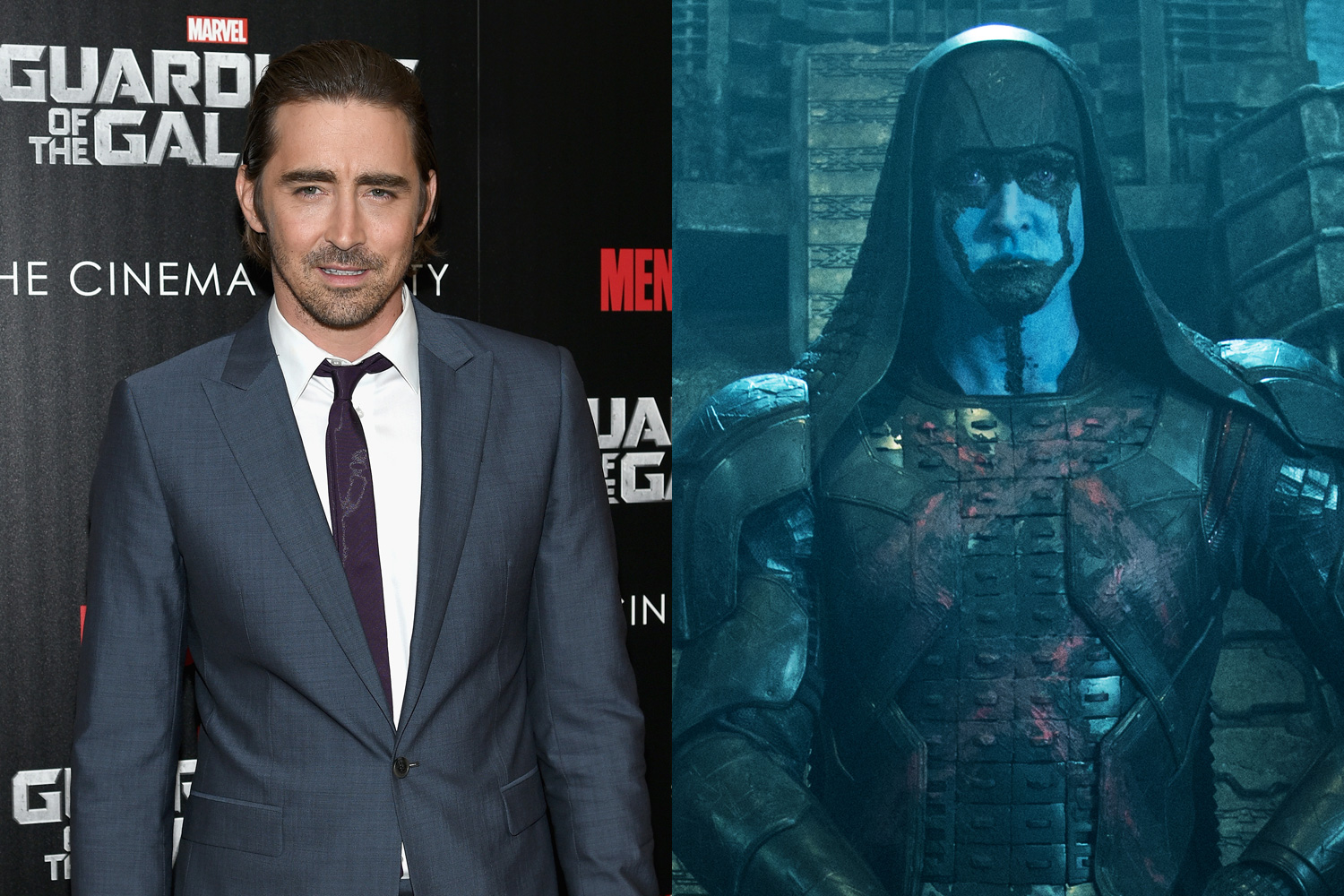 Having played the Elven king Thranduil in the Hobbit trilogy, Lee Pace is no stranger to makeup and prosthetics. In Guardians, he's painted in blue for his role as Ronan the Accuser.