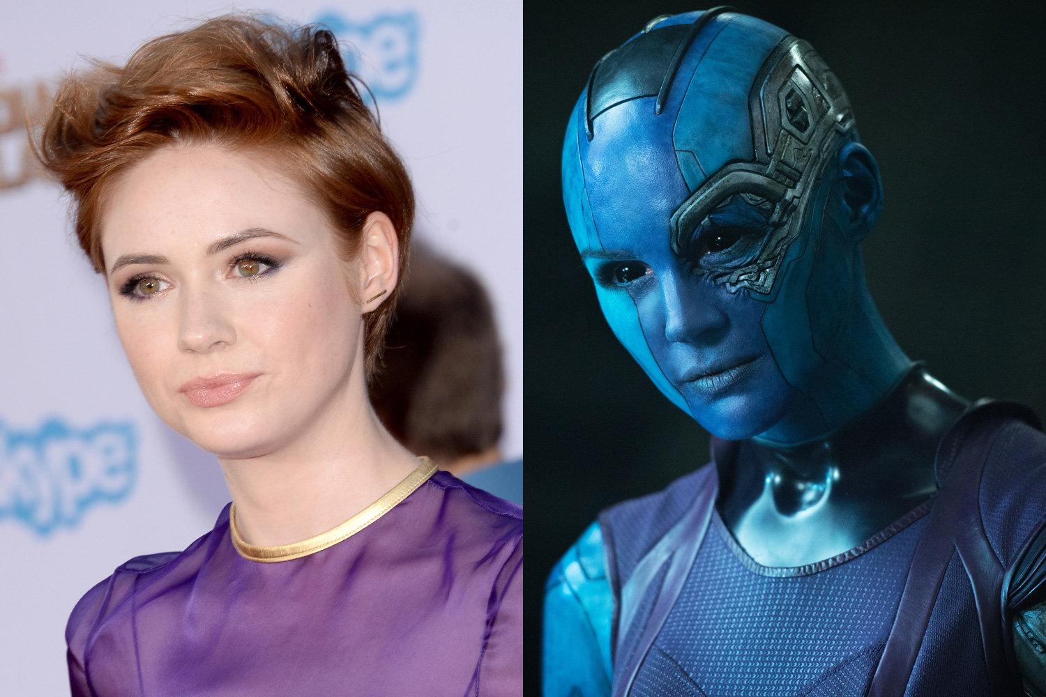 Karen Gillan had to shave off all her hair to attain the sleek look of Nebula, a cybernetically enhanced alien.