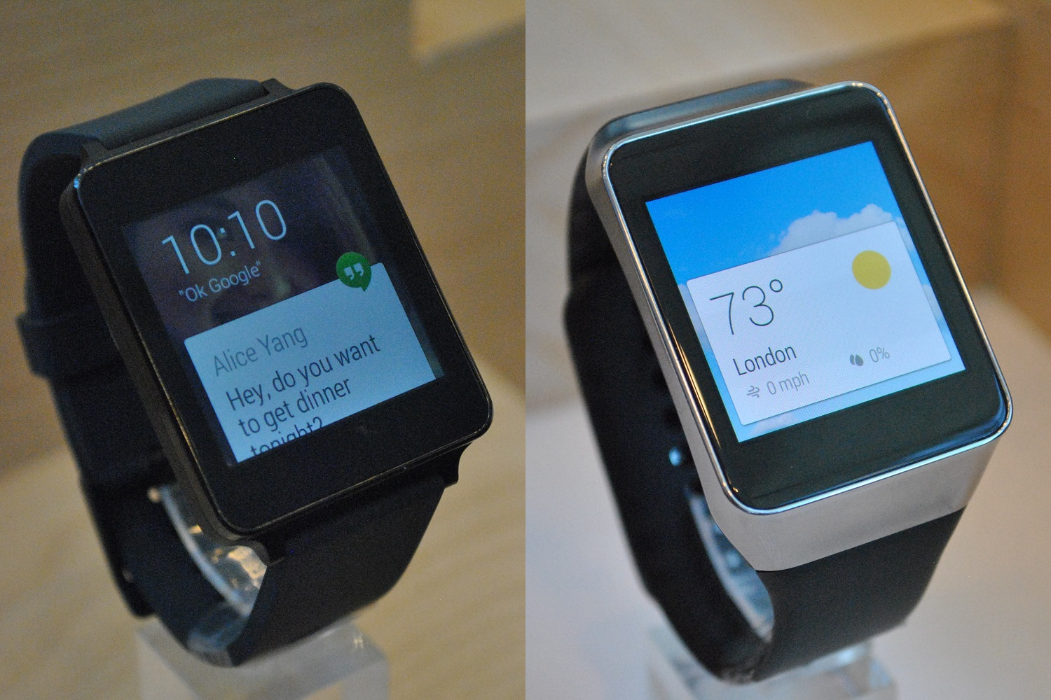 LG's G Watch (left) and Samsung's Gear Live (right)