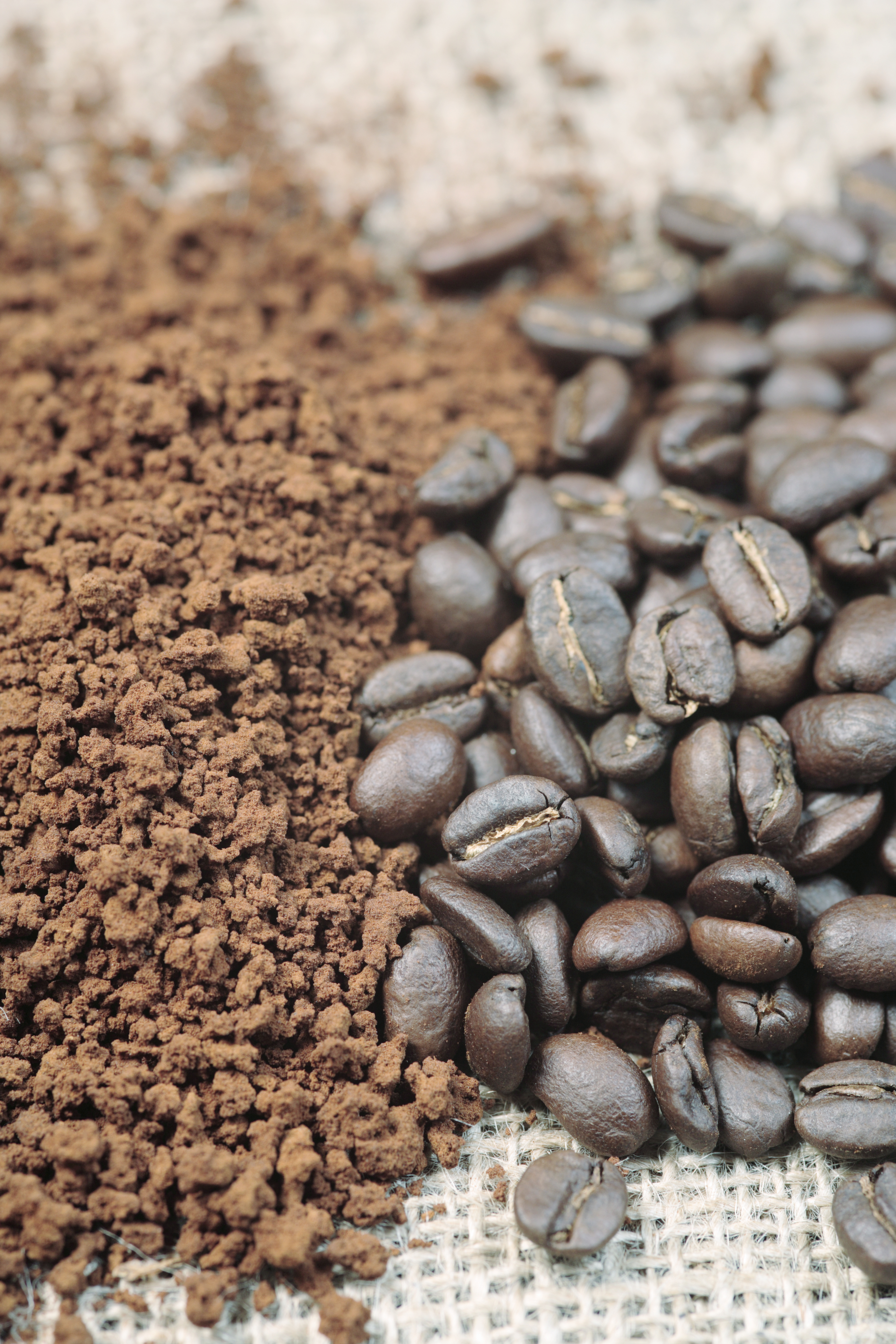 Instant coffee and fresh coffee beans from Eastern Cape, South Africa.