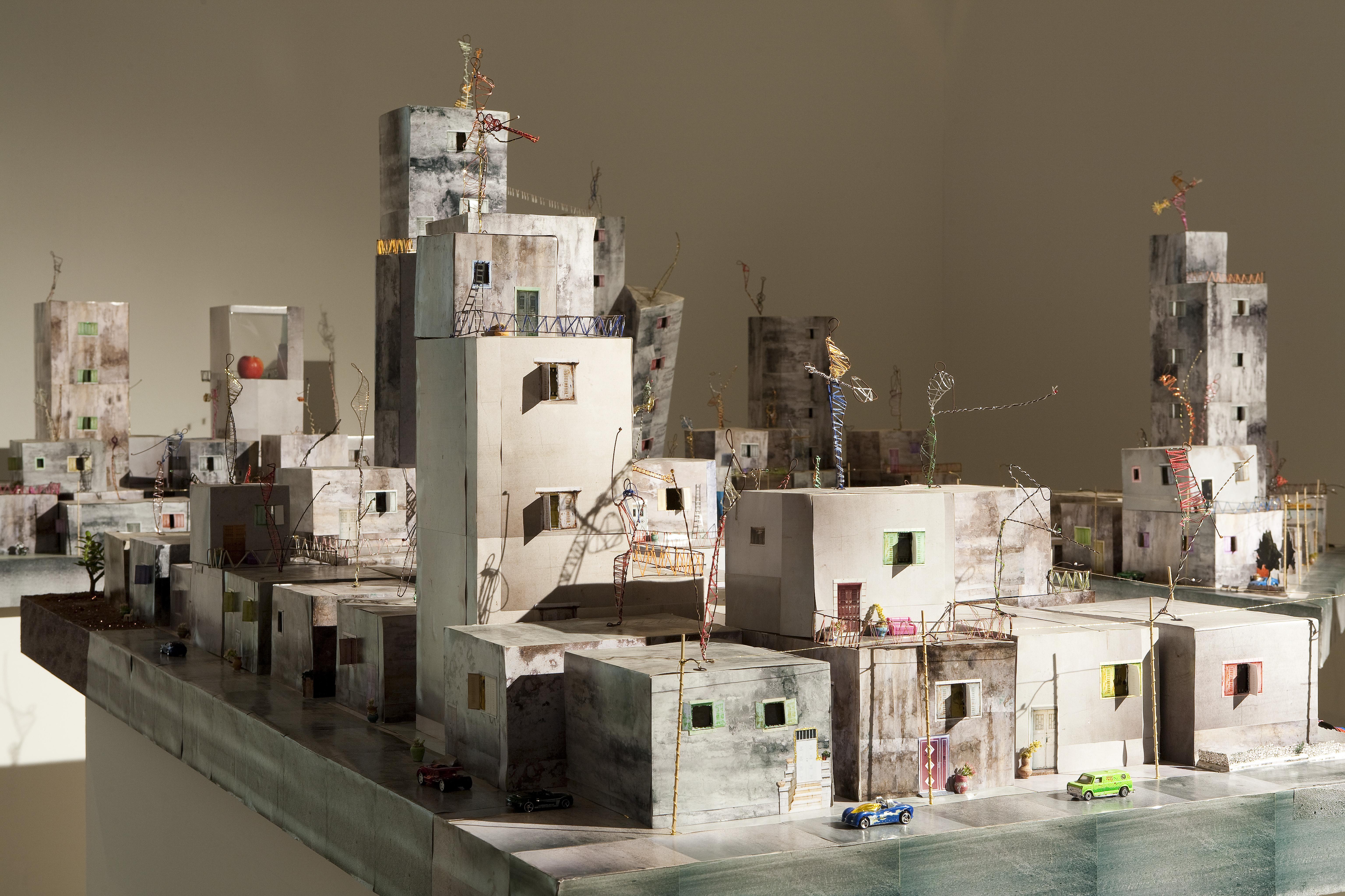 Wafa Hourani,  Qalandia 2087.  Mixed media installation.