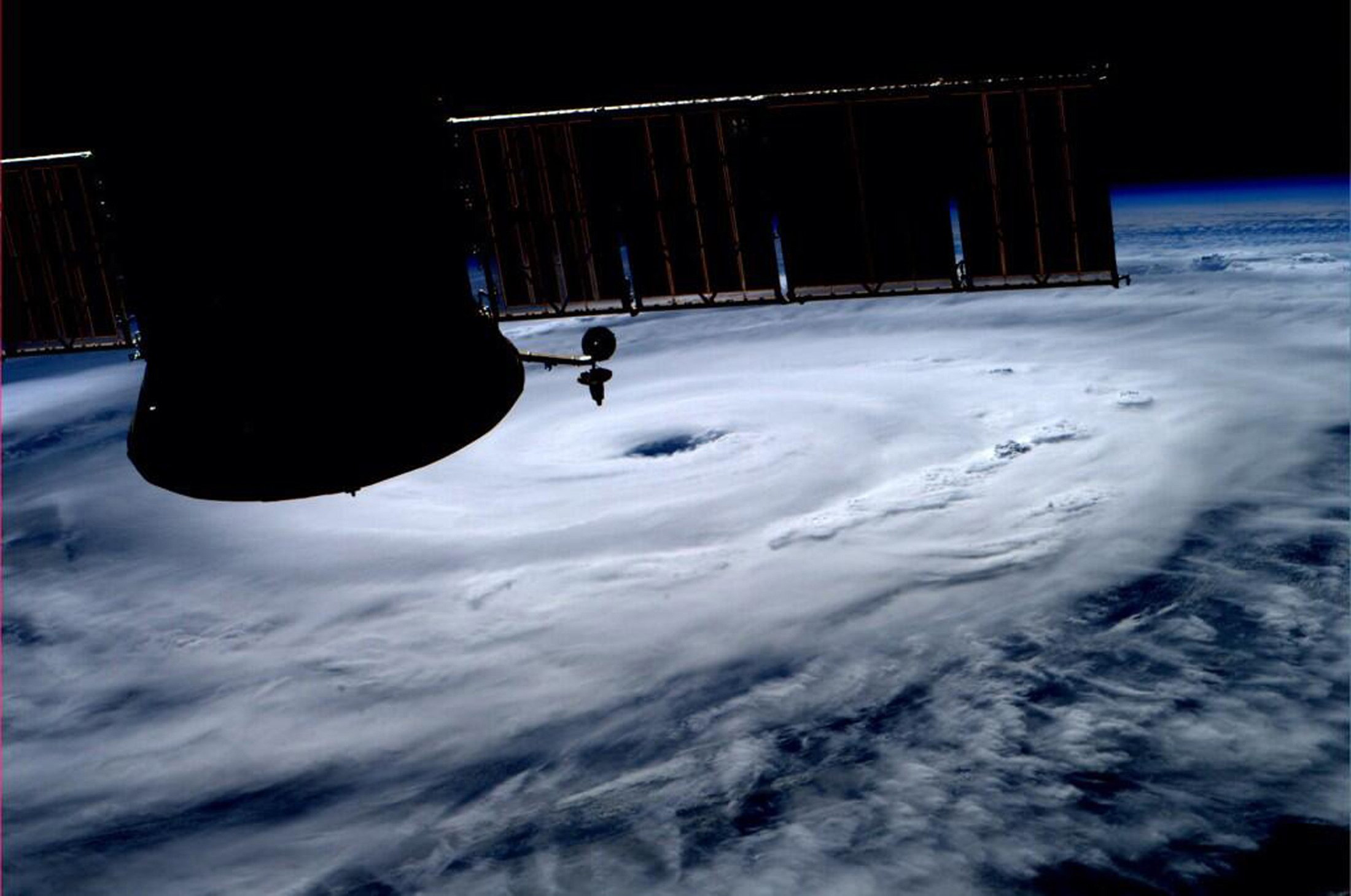 The eye of Hurricane Arthur is seen over the Atlantic in this photo from the International Space Station tweeted by European Space Agency astronaut Alexander Gerst, July 3, 2014.