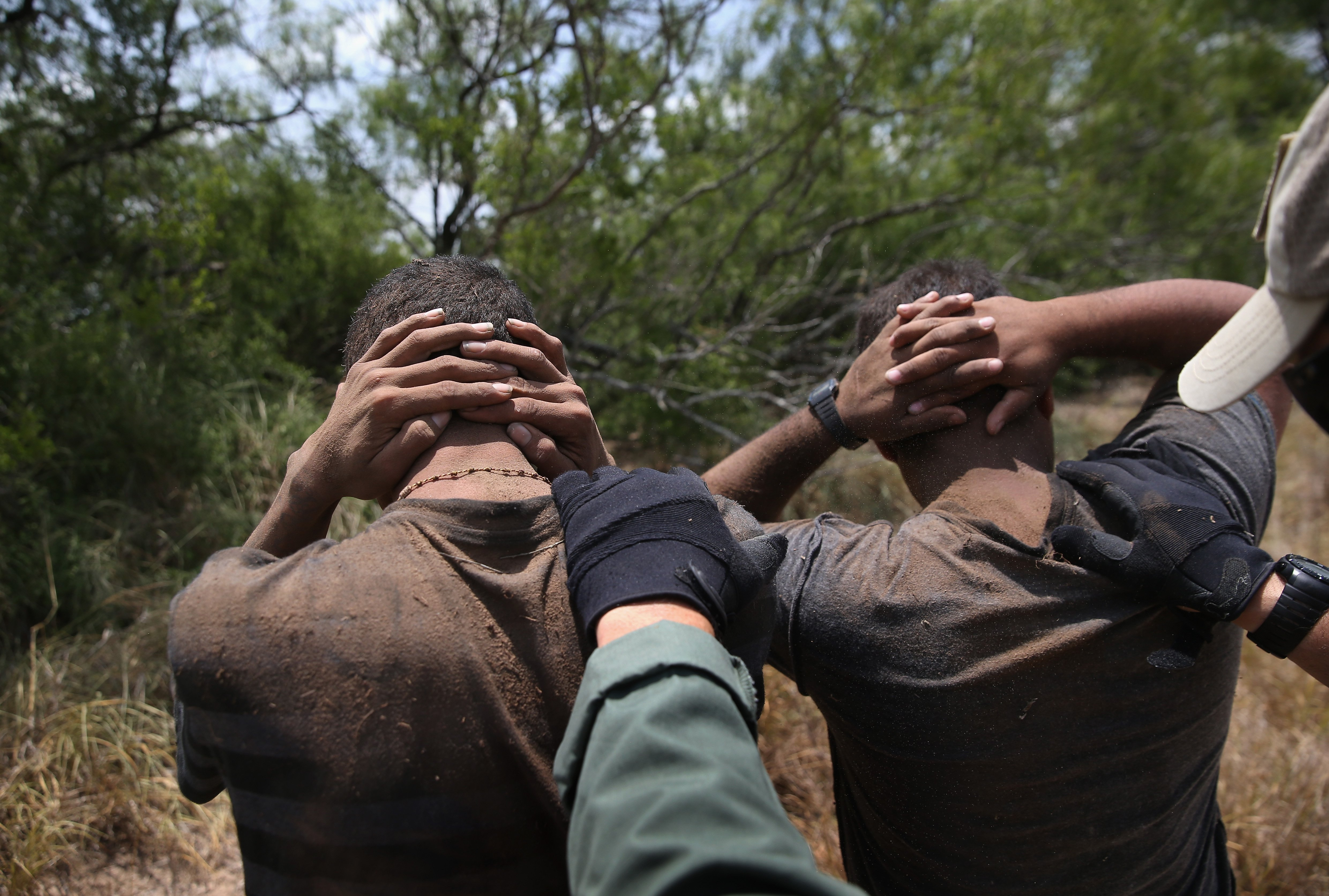 U.S. Border Patrol agents detain undocumented immigrants in dense brushland some 60 miles north of the U.S. Mexico border in Brooks County, Texas on July 23, 2014.