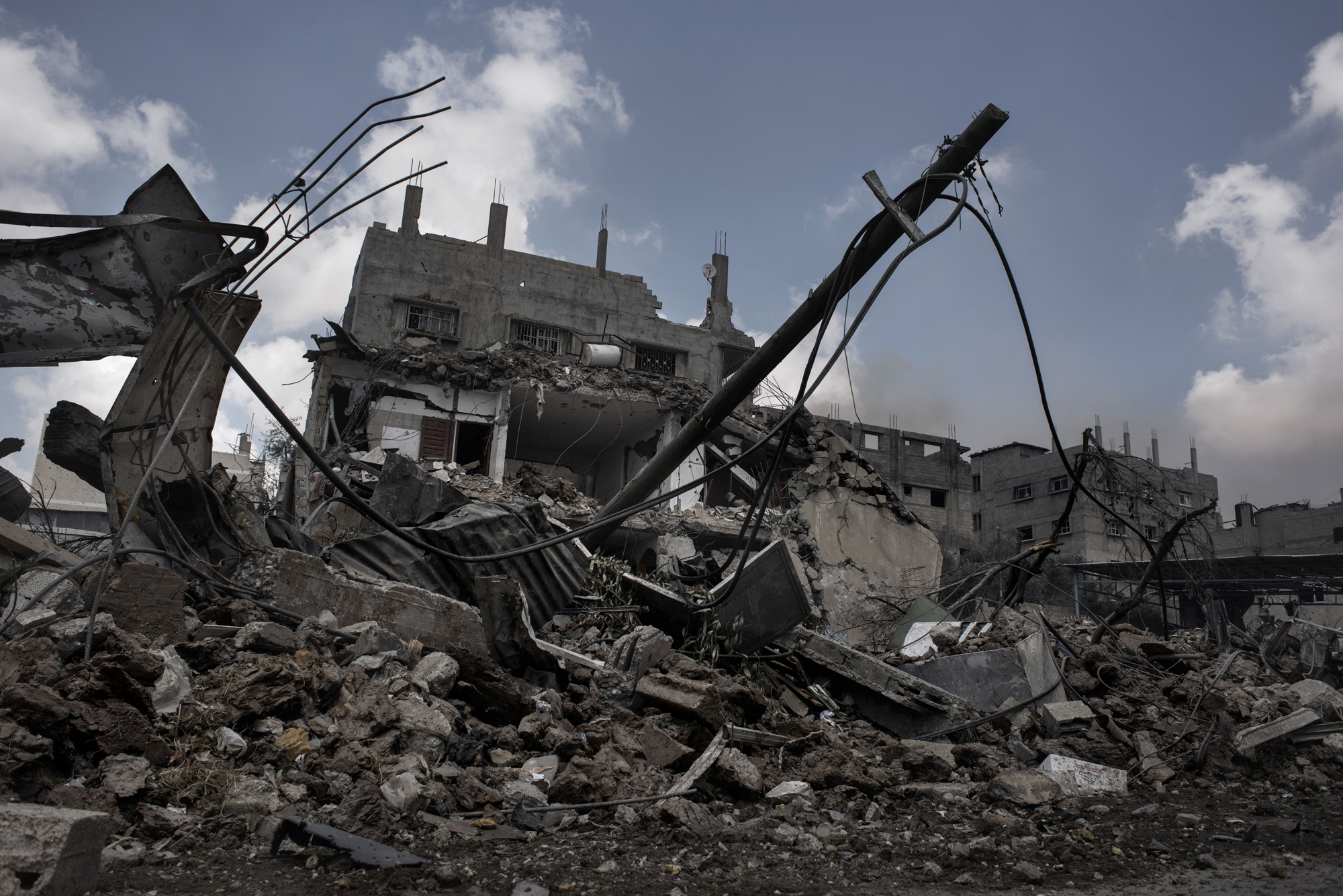 A damaged house in Shujayeh neighborhood in Gaza City, seen during a humanitarian cease-fire, July 20, 2014.