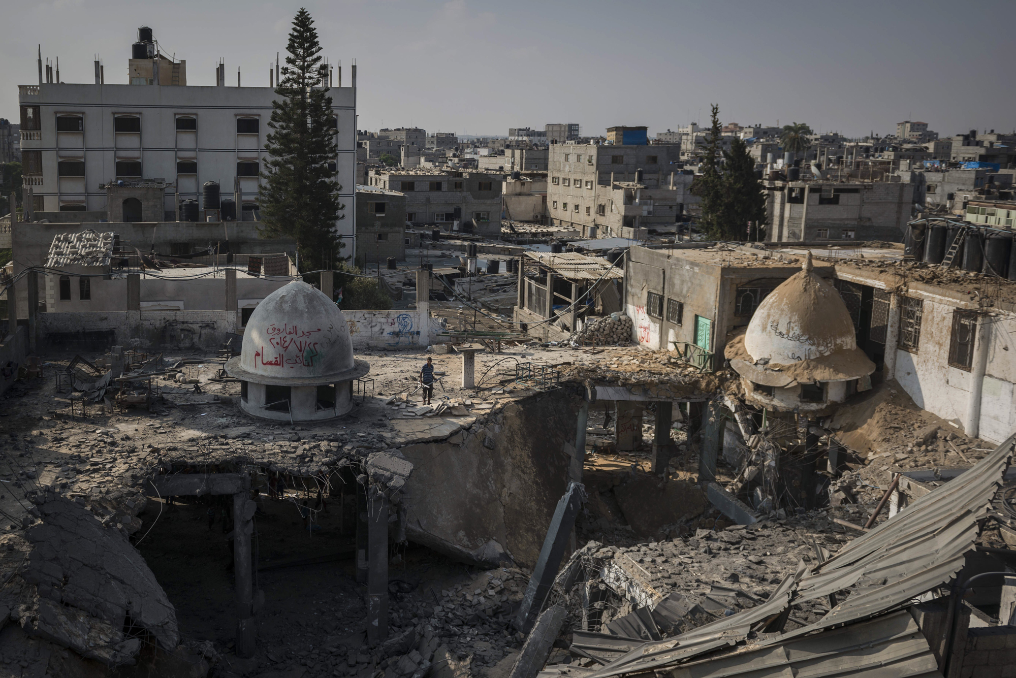 A mosque destroyed overnight in attacks in Rafah, Gaza, July 22, 2014.