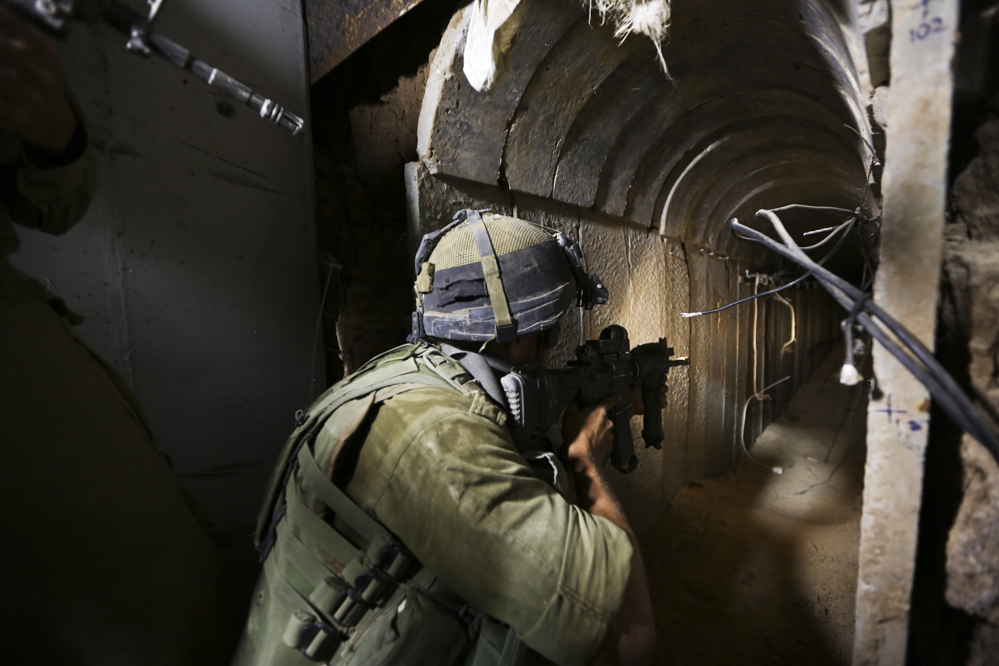 IDF soldiers of the Paratroopers Brigade guarding and neutralizing tunnels that were dug by the Hamas organization and leading into Israel,  Khan Younis, Gaza, July 30, 2014.
