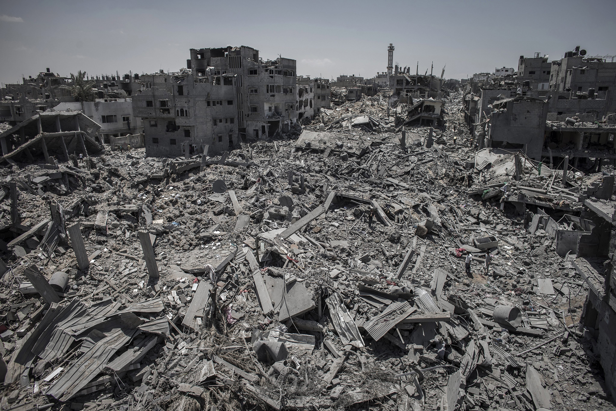 A general view of destroyed buildings after Israeli attacks in a part of the Shuja'iyya neighborhood in east Gaza City, July 26, 2014.