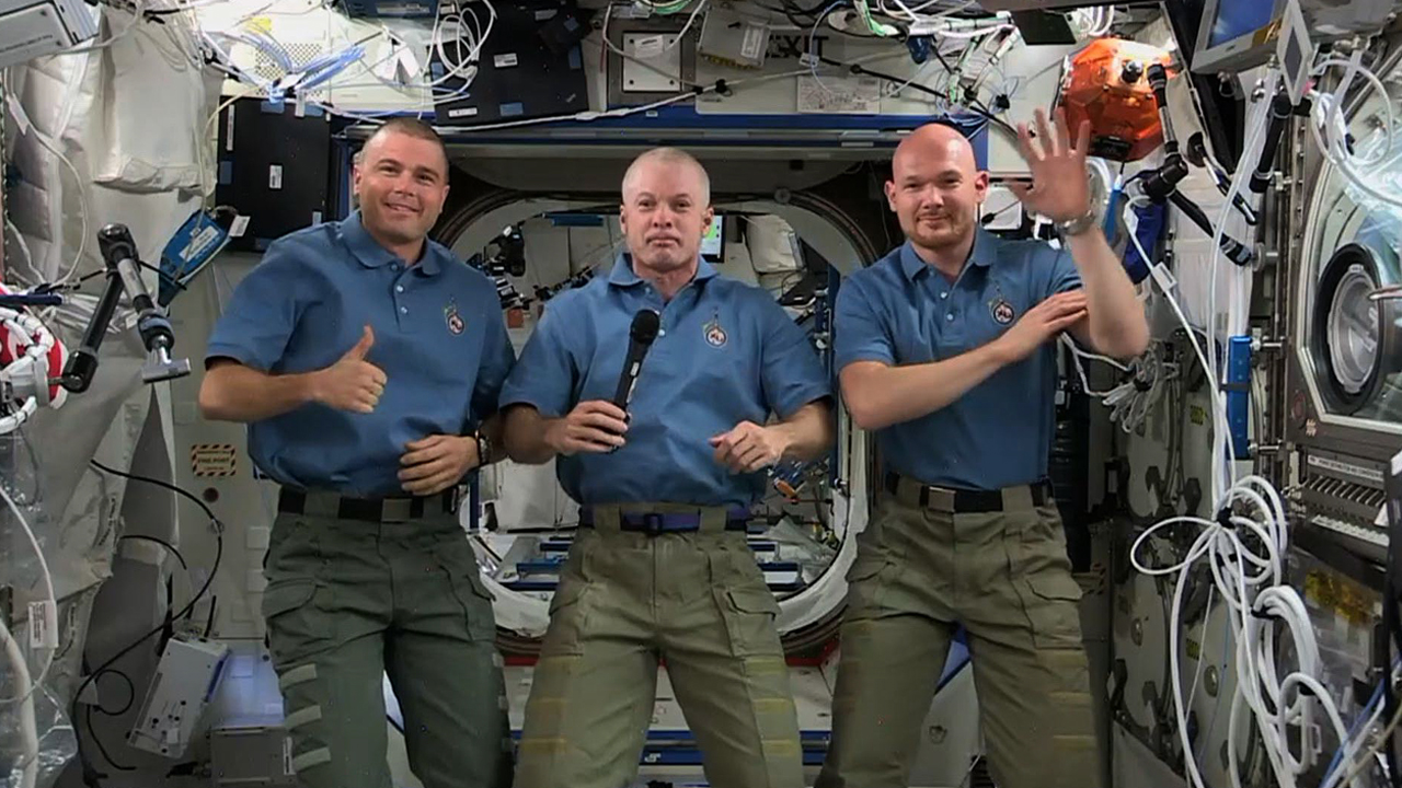 Captain Steve Swanson and flight engineers Reid Wiseman and Alexander Gerst in an interview with Time, from the International Space Station