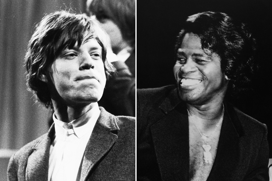 Mick Jagger, left, and James Brown