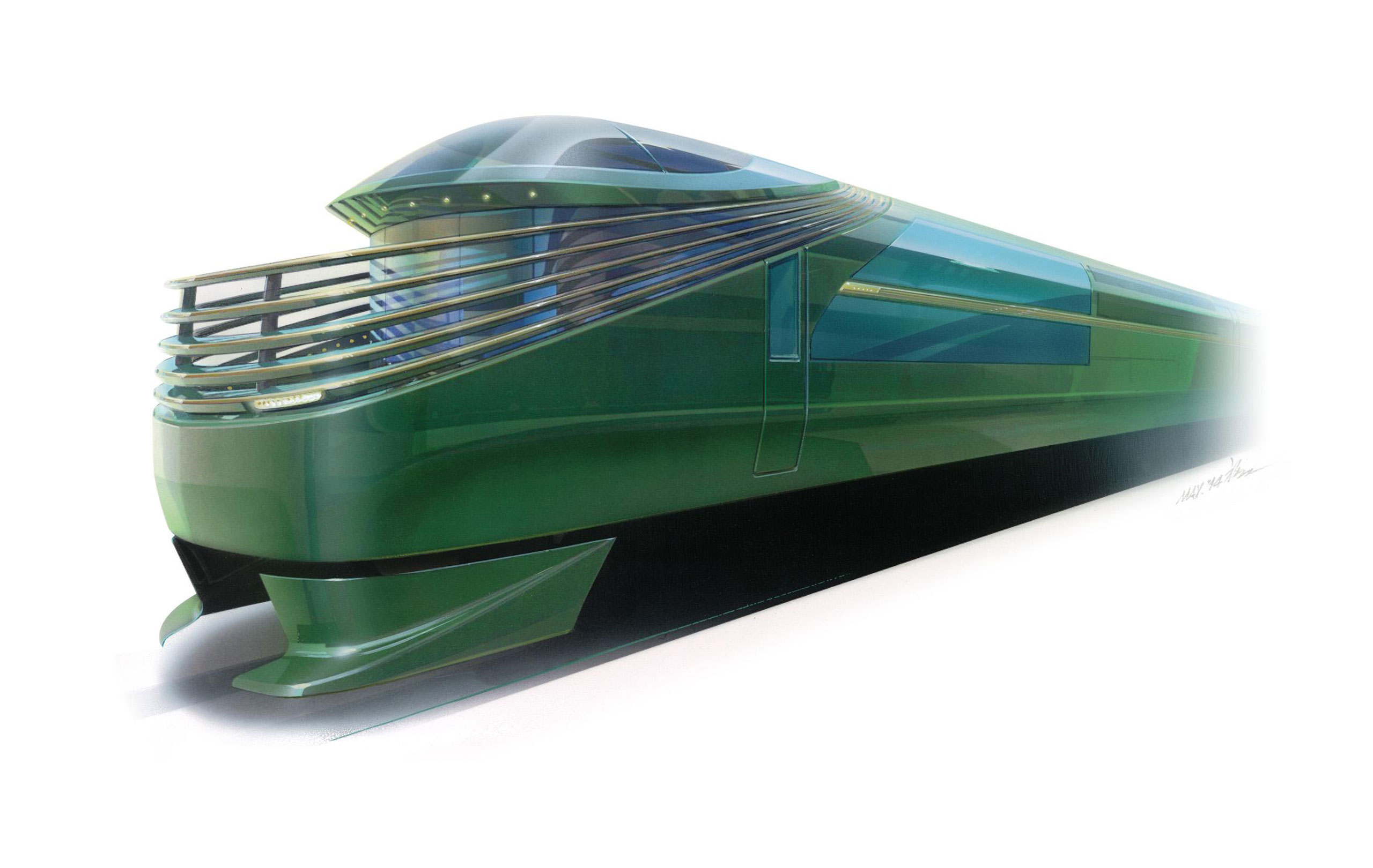 An exterior view of the JR West cruise train, debuting in 2017.
